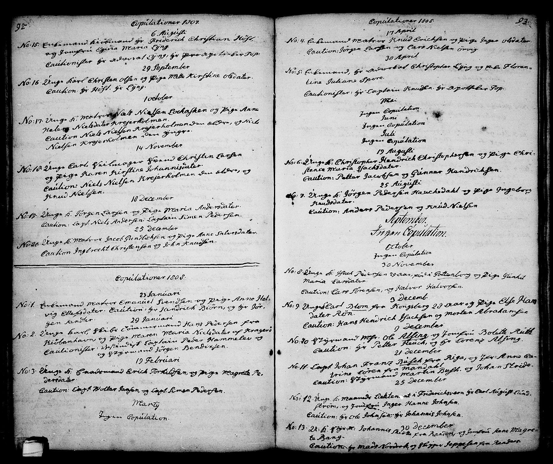 SAKO, Kragerø kirkebøker, G/Ga/L0001: Klokkerbok nr. 1 /1, 1806-1811, s. 92-93