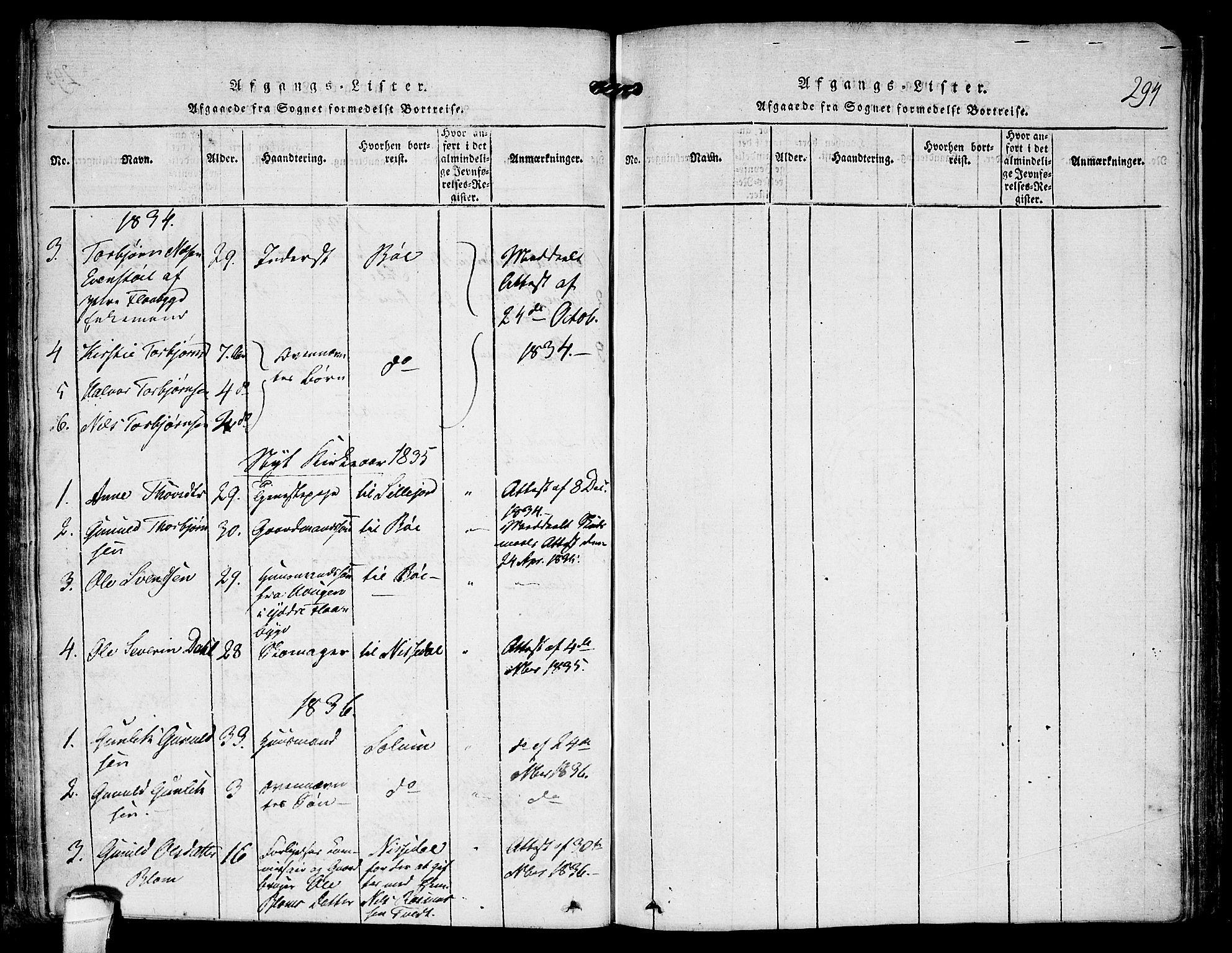 SAKO, Kviteseid kirkebøker, F/Fa/L0005: Ministerialbok nr. I 5, 1815-1836, s. 294
