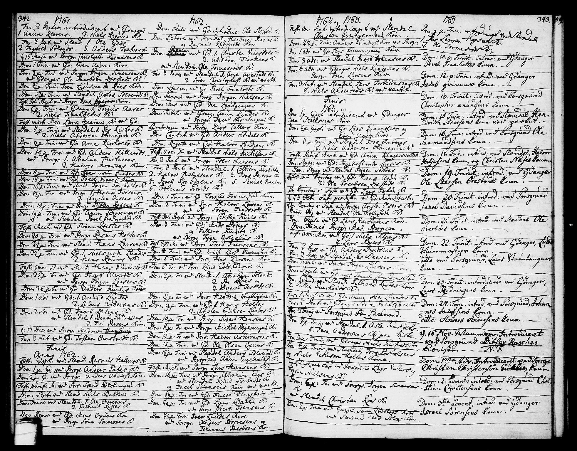 SAKO, Eidanger kirkebøker, F/Fa/L0005: Ministerialbok nr. 5, 1760-1764, s. 342-343