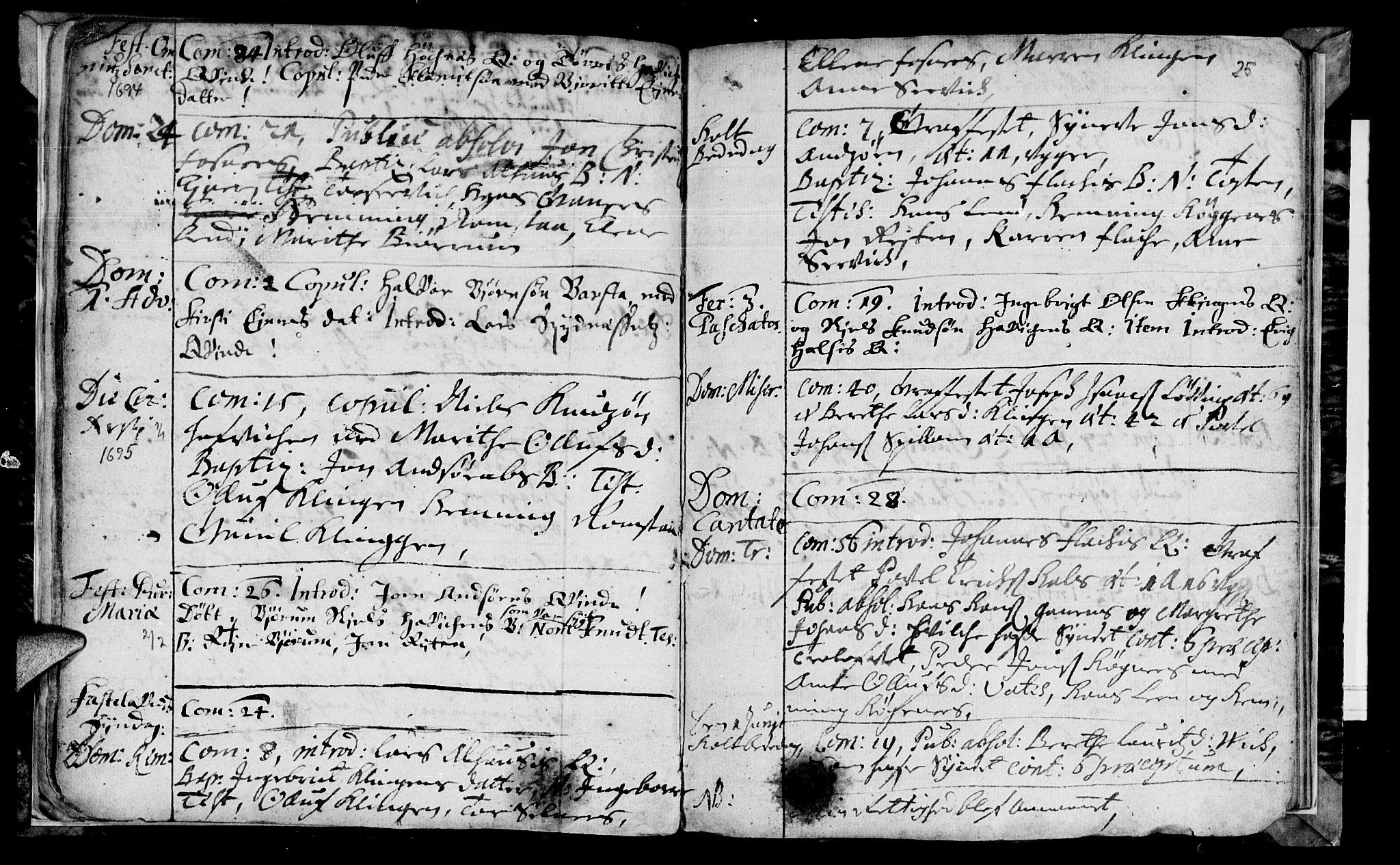 SAT, Ministerialprotokoller, klokkerbøker og fødselsregistre - Nord-Trøndelag, 770/L0587: Ministerialbok nr. 770A01, 1689-1697, s. 24-25
