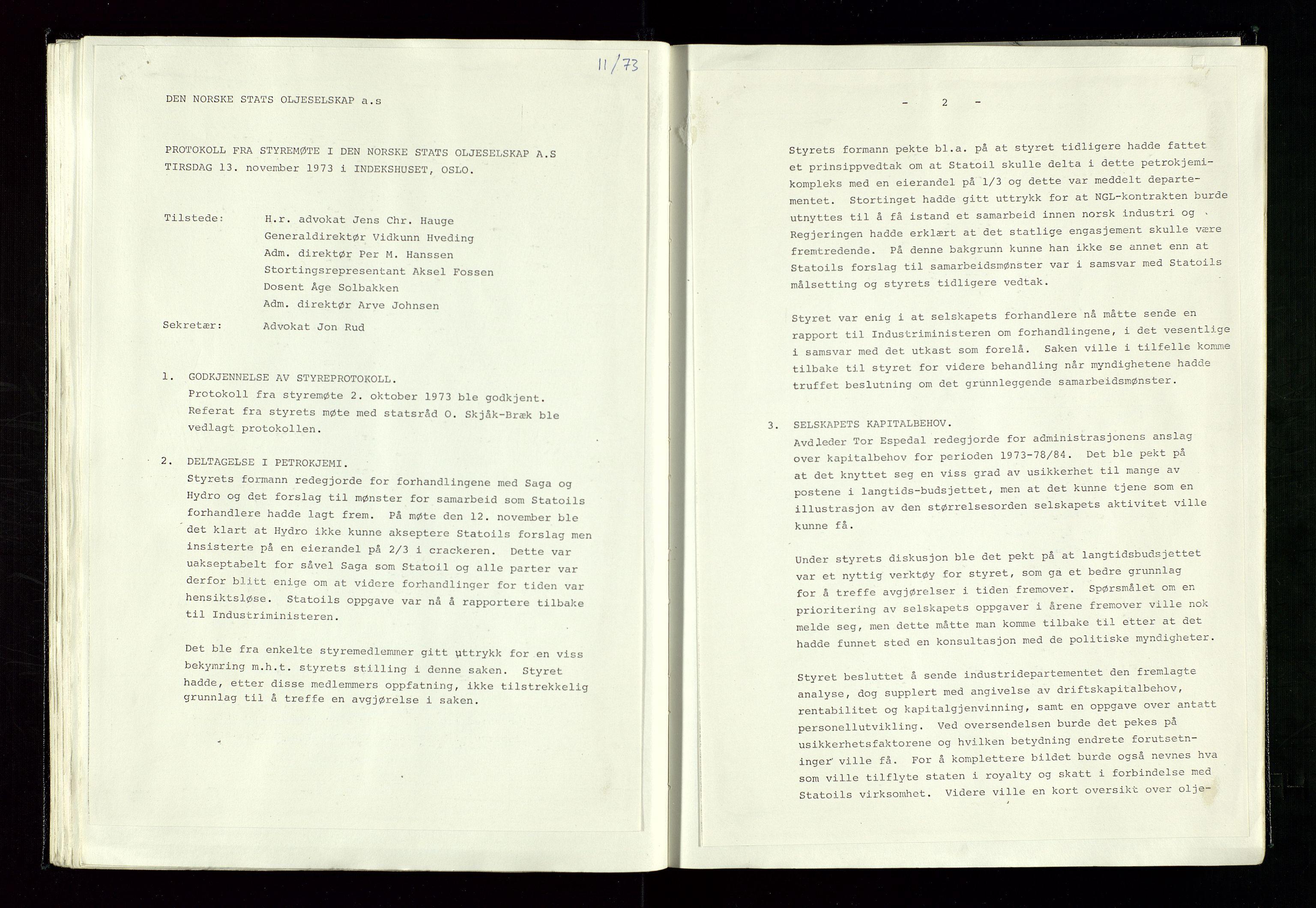 SAST, Pa 1339 - Statoil ASA, A/Ab/Aba/L0001: Styremøteprotokoller, 05.10.1972 til 14.12.1978, 1972-1978, s. 41