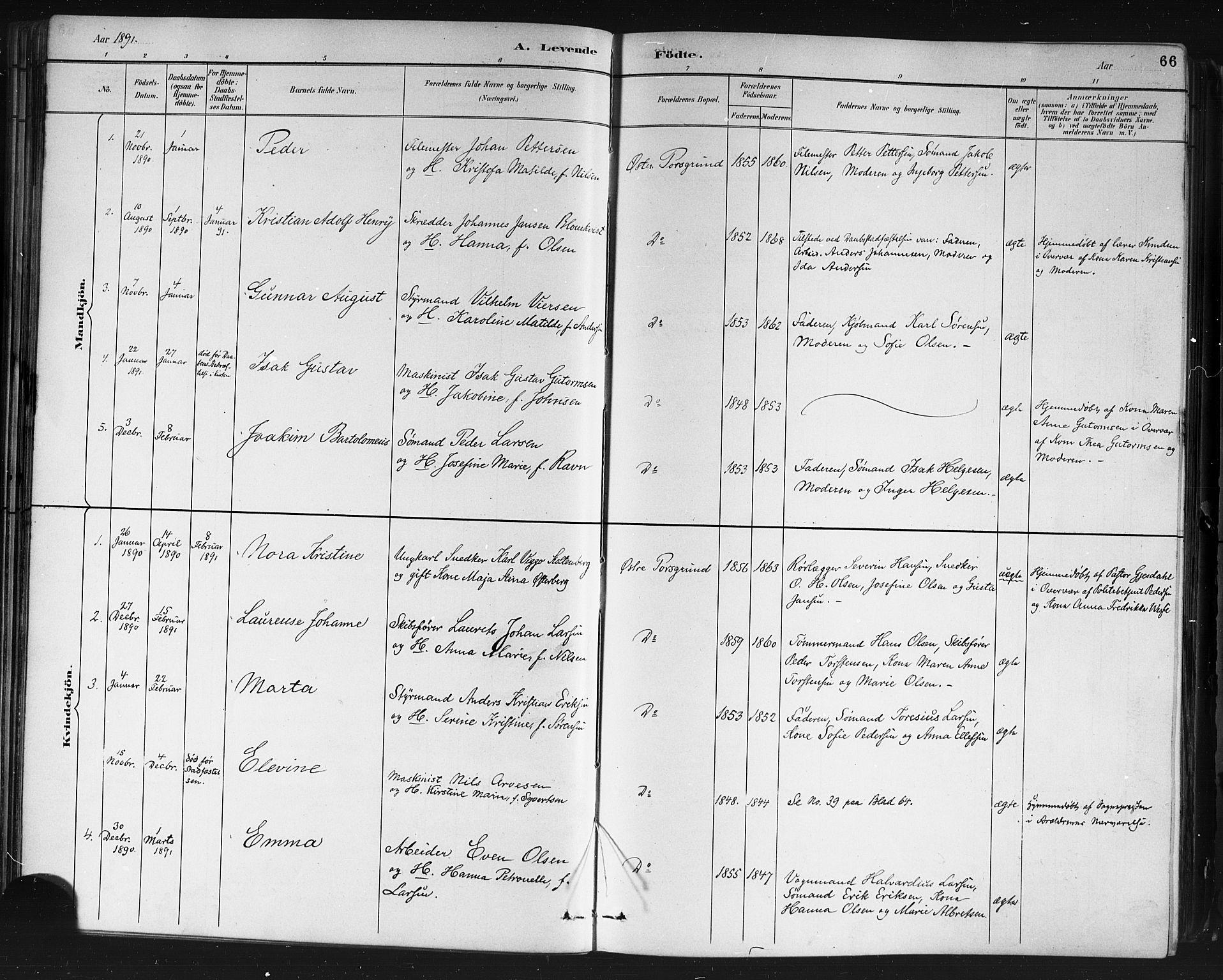 SAKO, Porsgrunn kirkebøker , G/Gb/L0005: Klokkerbok nr. II 5, 1883-1915, s. 66