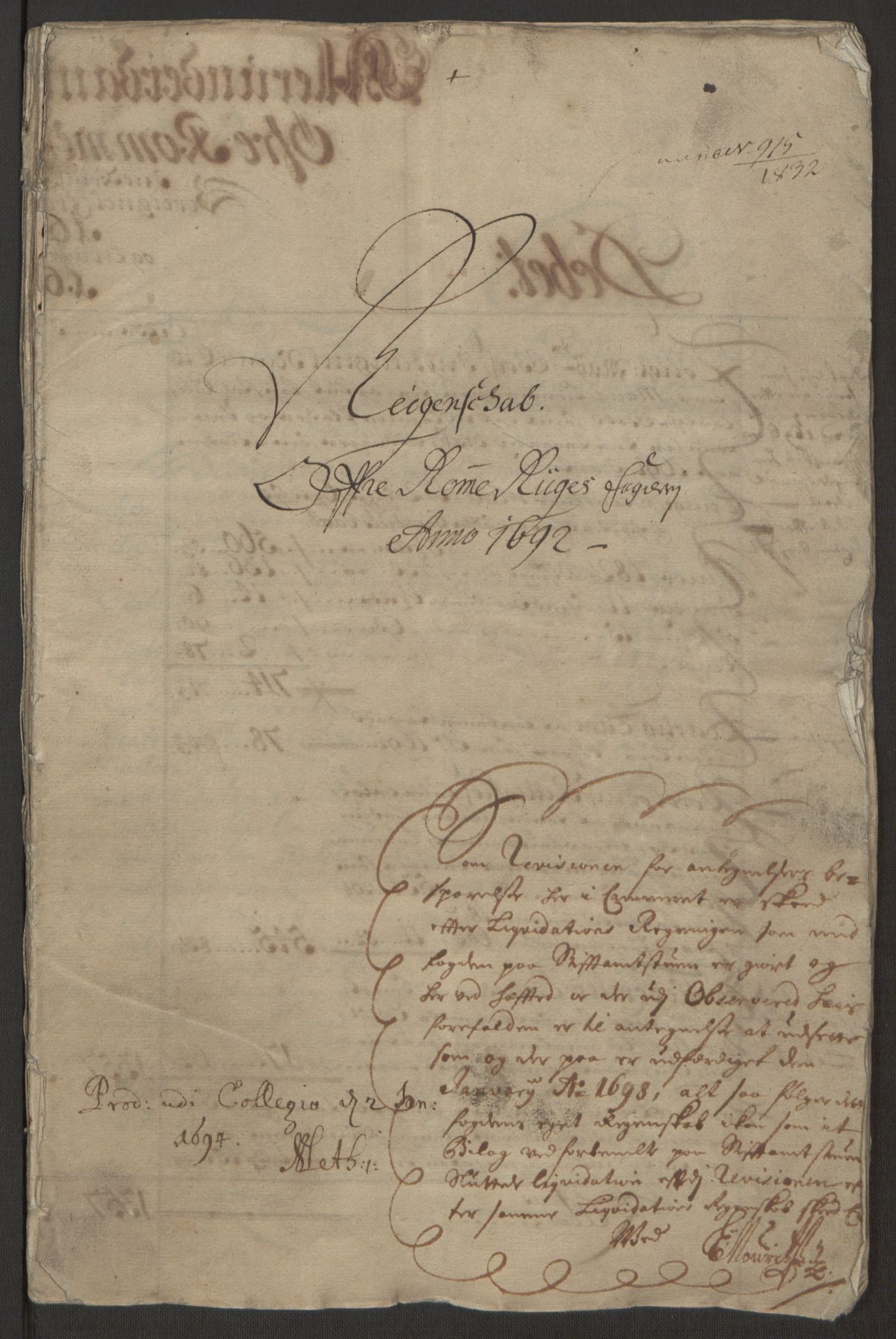 RA, Rentekammeret inntil 1814, Reviderte regnskaper, Fogderegnskap, R12/L0704: Fogderegnskap Øvre Romerike, 1692, s. 2