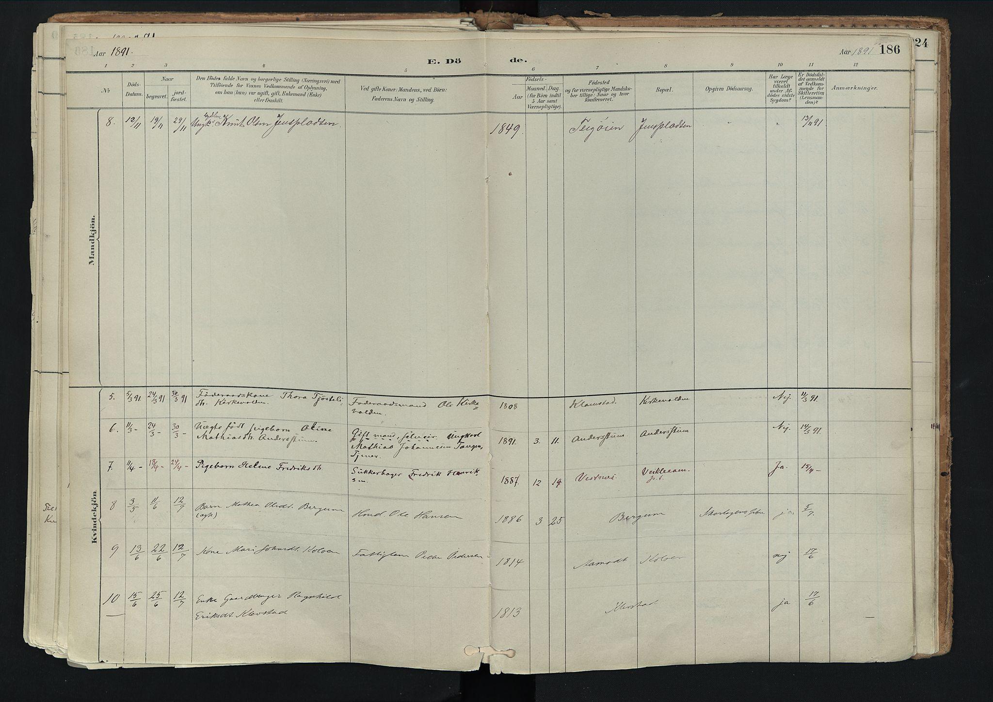 SAH, Nord-Fron prestekontor, Ministerialbok nr. 3, 1884-1914, s. 186