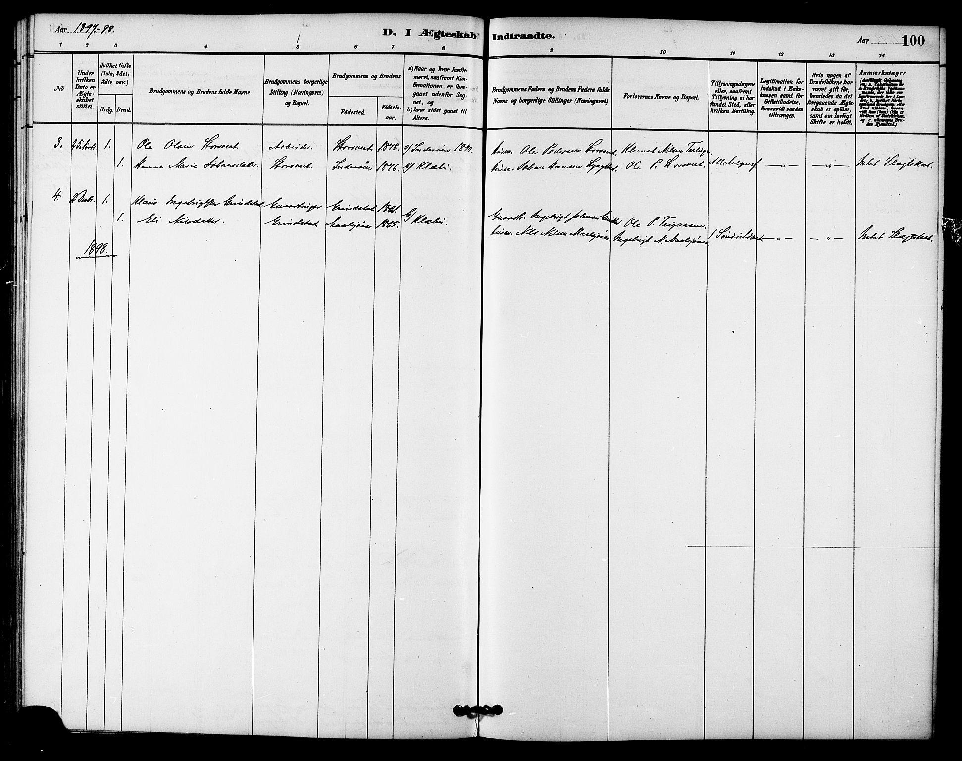 SAT, Ministerialprotokoller, klokkerbøker og fødselsregistre - Sør-Trøndelag, 618/L0444: Ministerialbok nr. 618A07, 1880-1898, s. 100