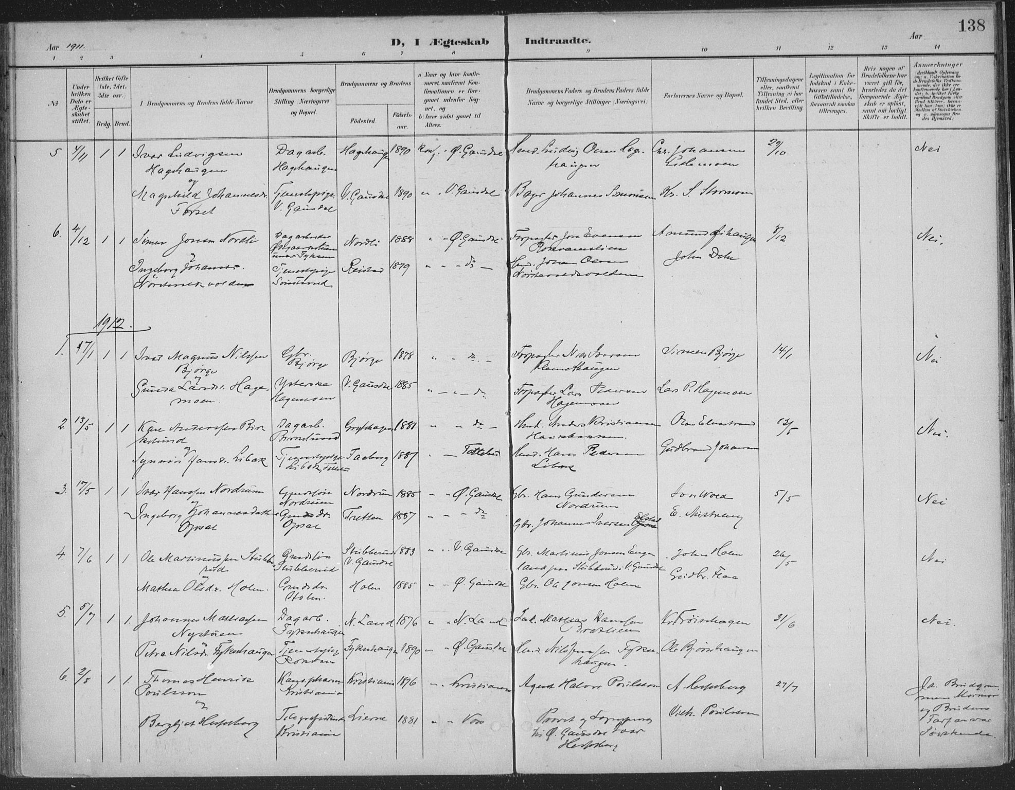 SAH, Østre Gausdal prestekontor, Ministerialbok nr. 4, 1898-1914, s. 138