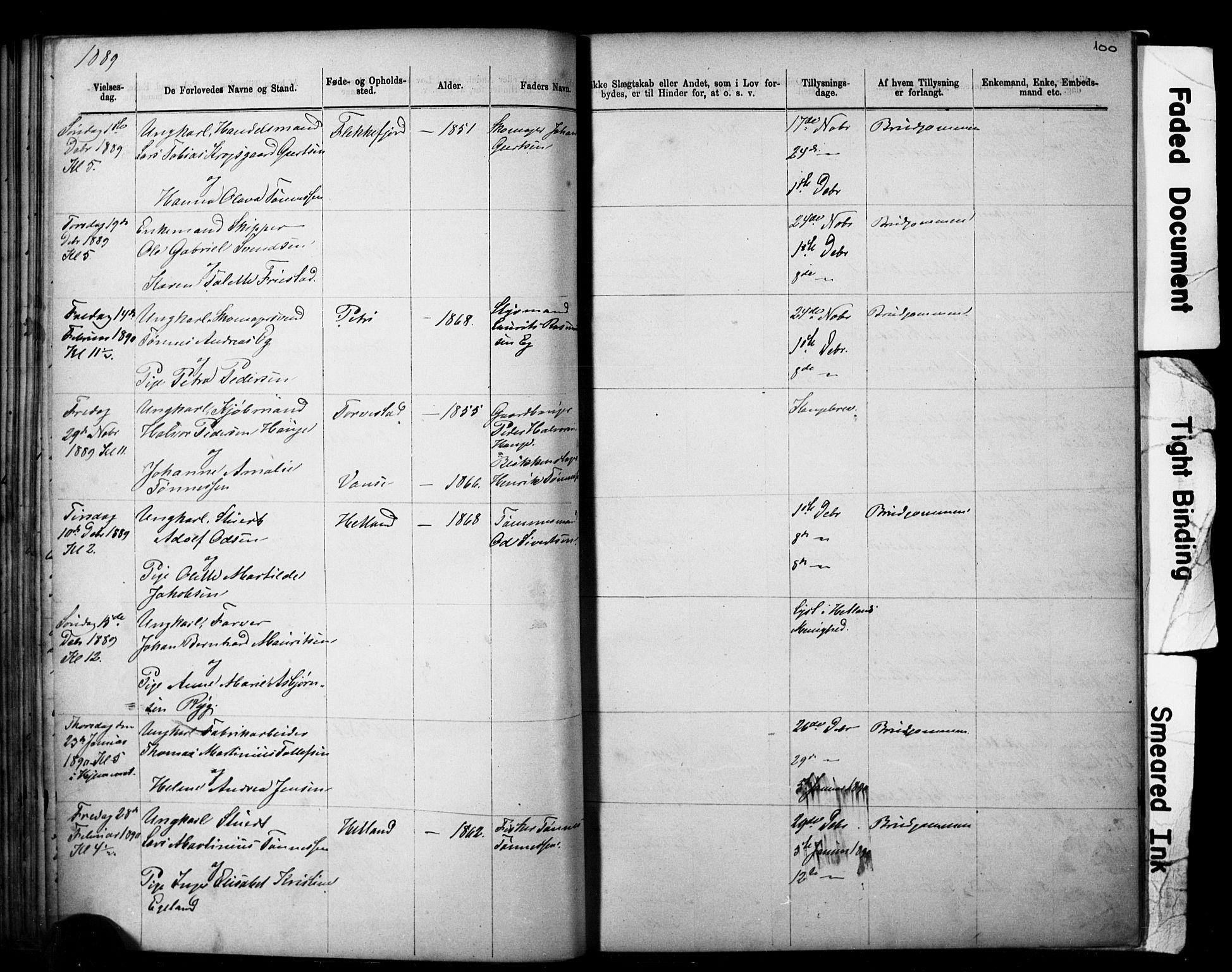 SAST, Domkirken sokneprestkontor, 30/30BB/L0014: Klokkerbok nr. B 14, 1875-1902, s. 100