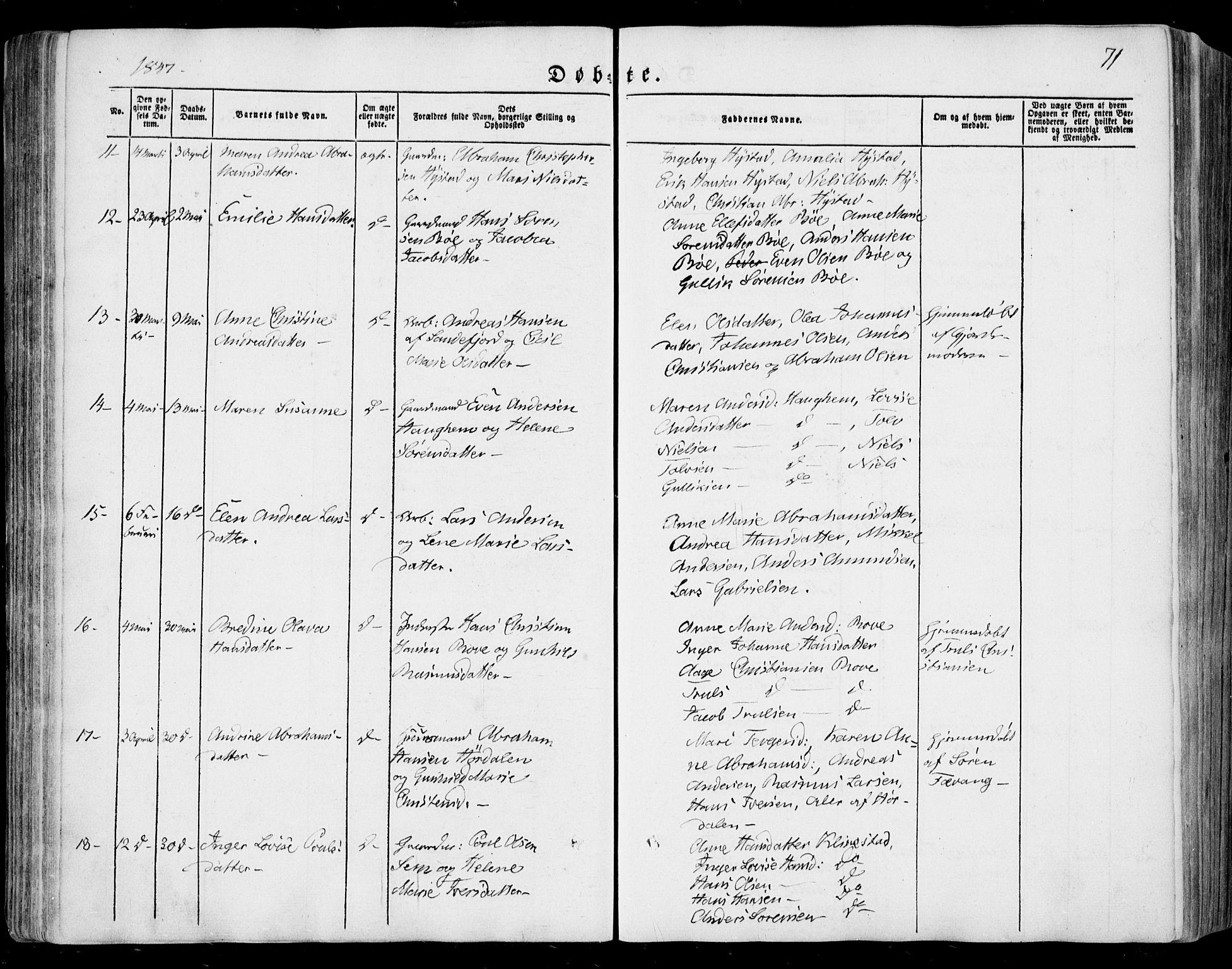 SAKO, Sandar kirkebøker, F/Fa/L0006: Ministerialbok nr. 6, 1847-1860, s. 71