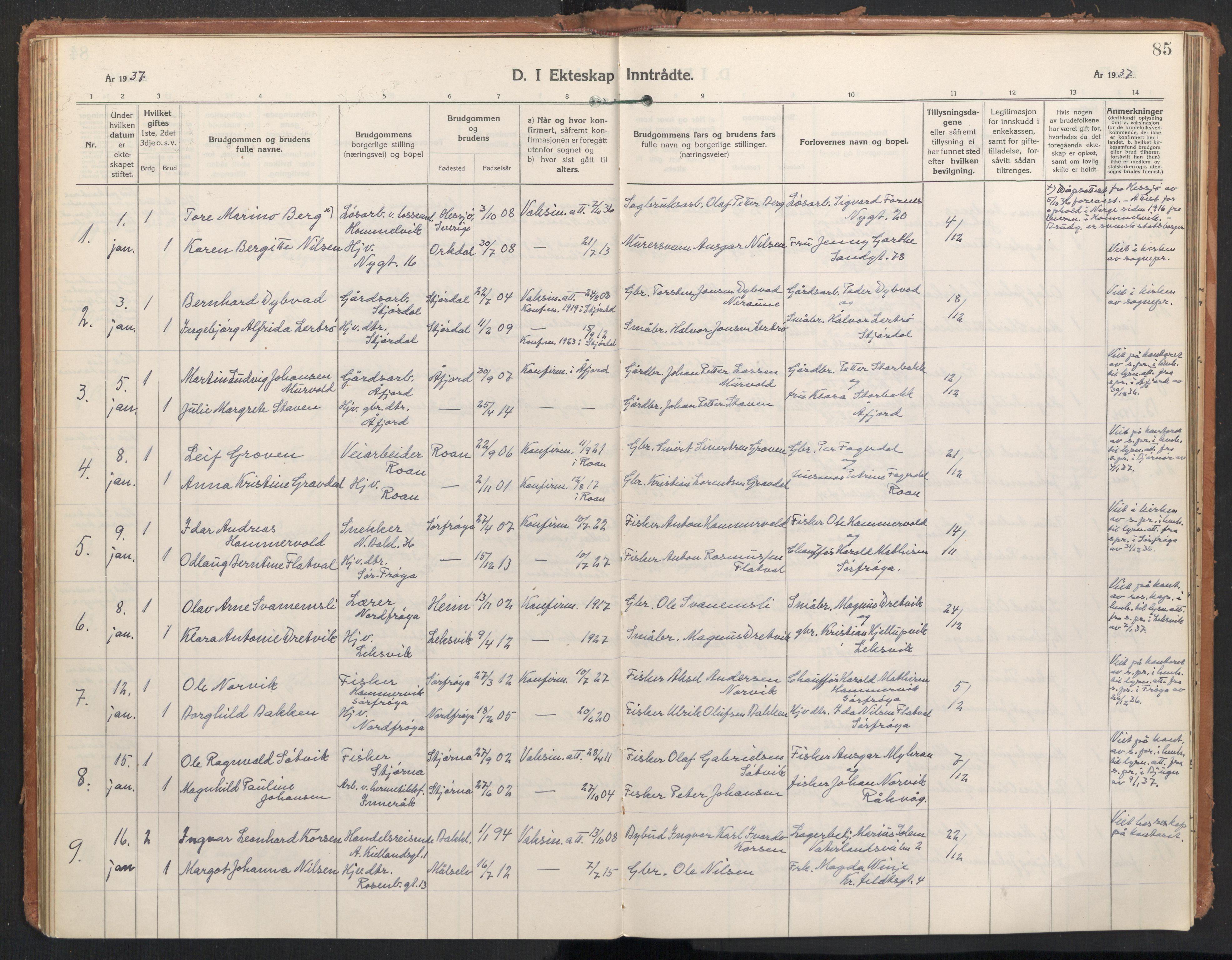 SAT, Ministerialprotokoller, klokkerbøker og fødselsregistre - Sør-Trøndelag, 604/L0209: Ministerialbok nr. 604A29, 1931-1945, s. 85