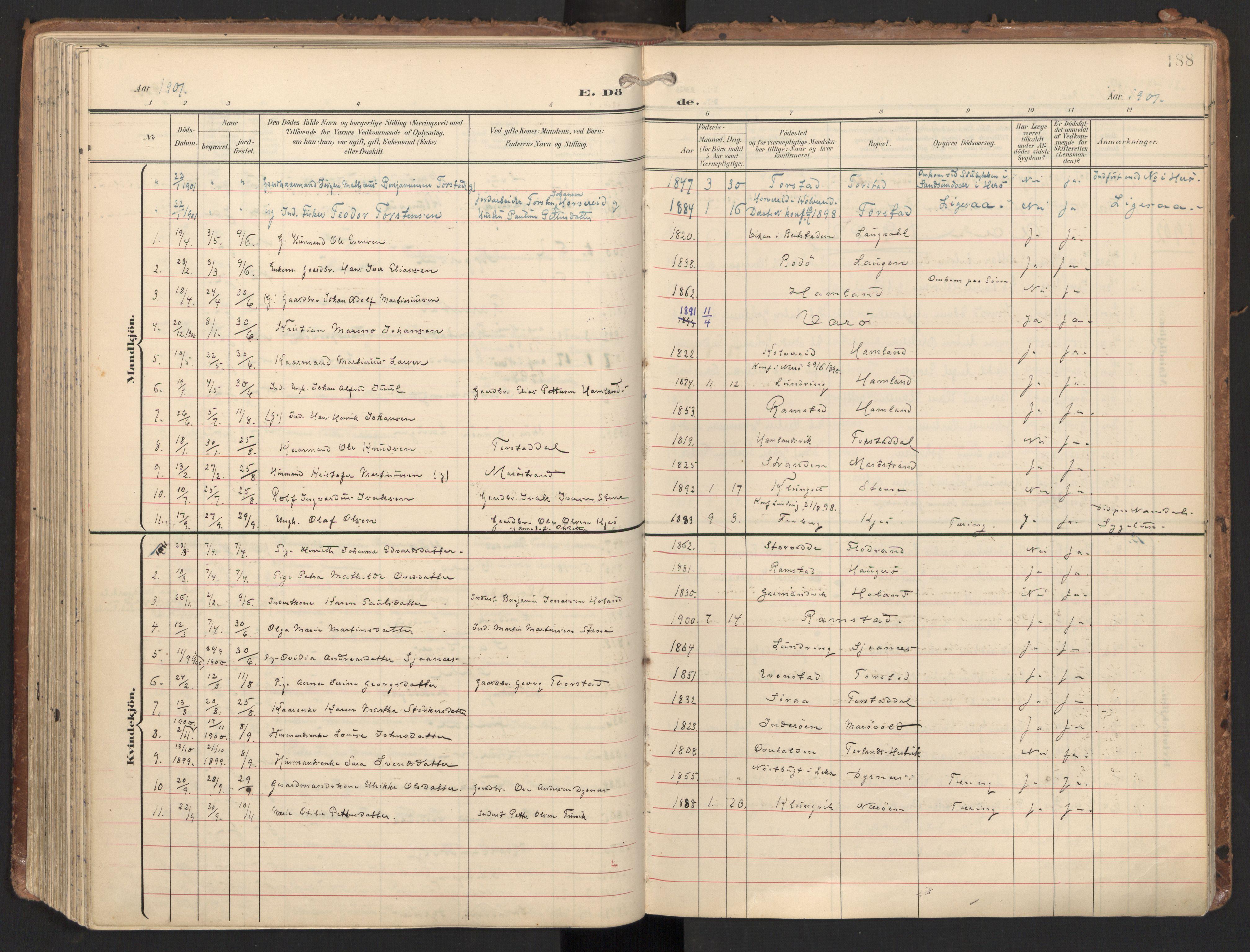 SAT, Ministerialprotokoller, klokkerbøker og fødselsregistre - Nord-Trøndelag, 784/L0677: Ministerialbok nr. 784A12, 1900-1920, s. 188