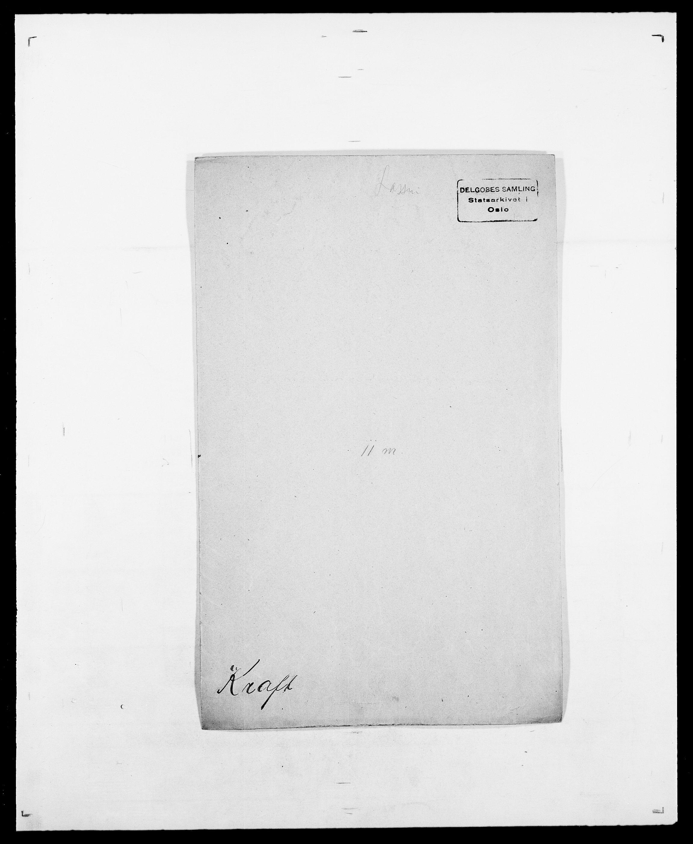SAO, Delgobe, Charles Antoine - samling, D/Da/L0021: Klagenberg - Kristoft, s. 628