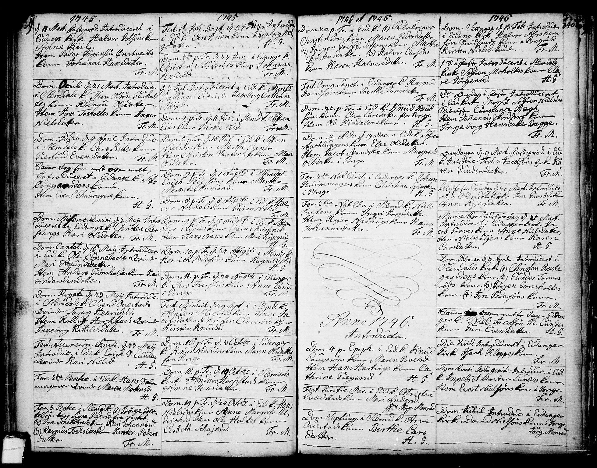 SAKO, Eidanger kirkebøker, F/Fa/L0004: Ministerialbok nr. 4, 1733-1759, s. 339-340