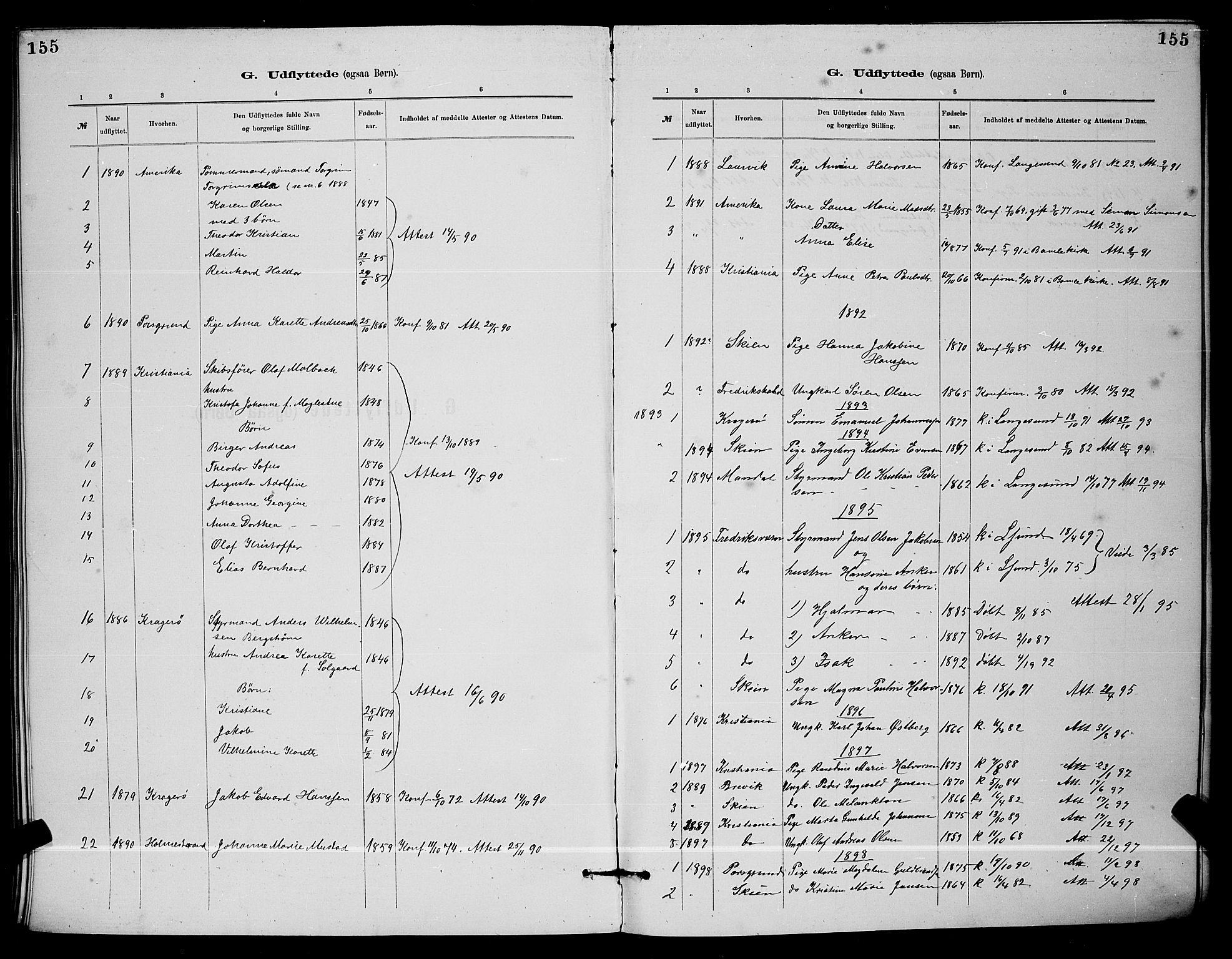 SAKO, Langesund kirkebøker, G/Ga/L0005: Klokkerbok nr. 5, 1884-1898, s. 155