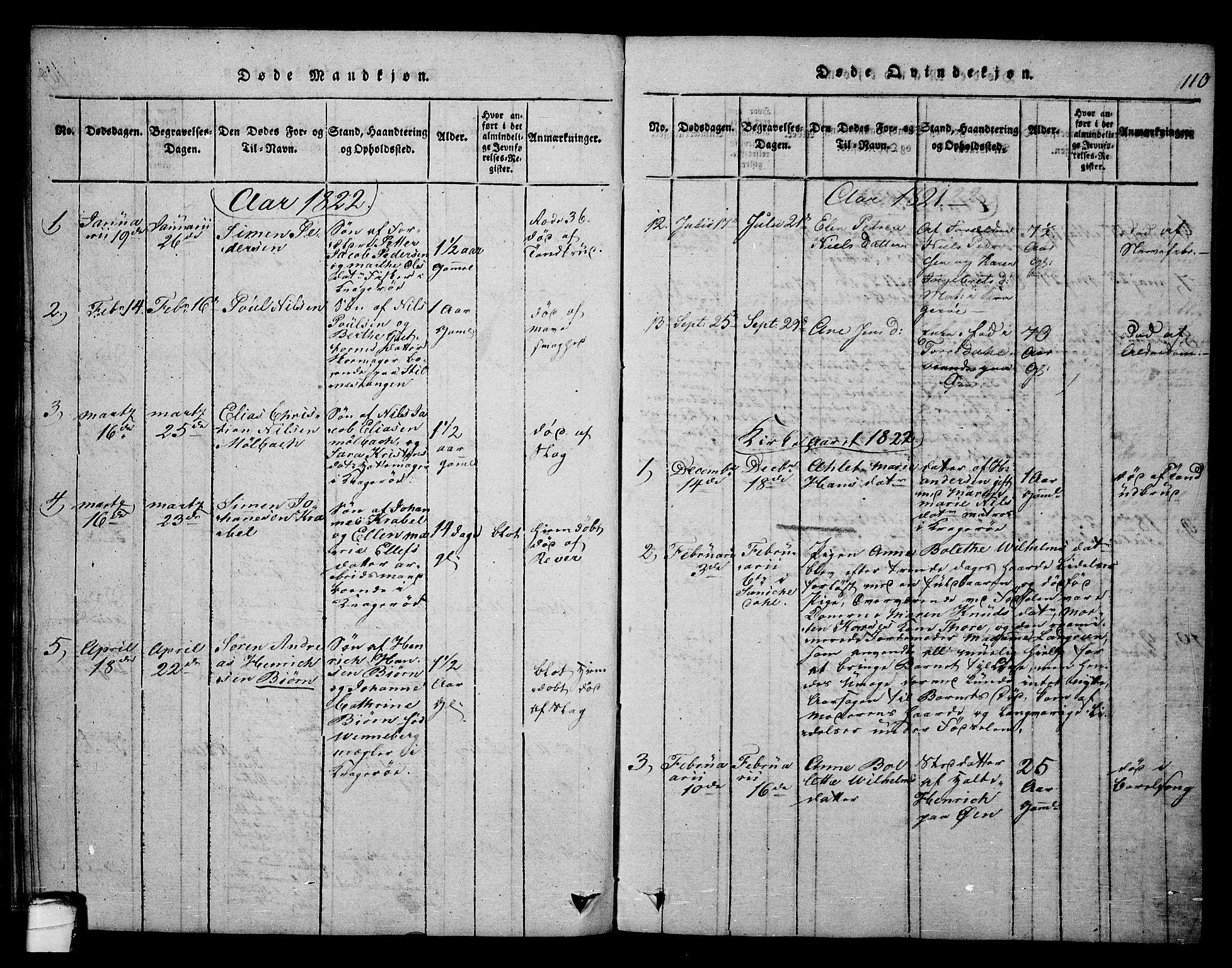 SAKO, Kragerø kirkebøker, F/Fa/L0004: Ministerialbok nr. 4, 1814-1831, s. 110