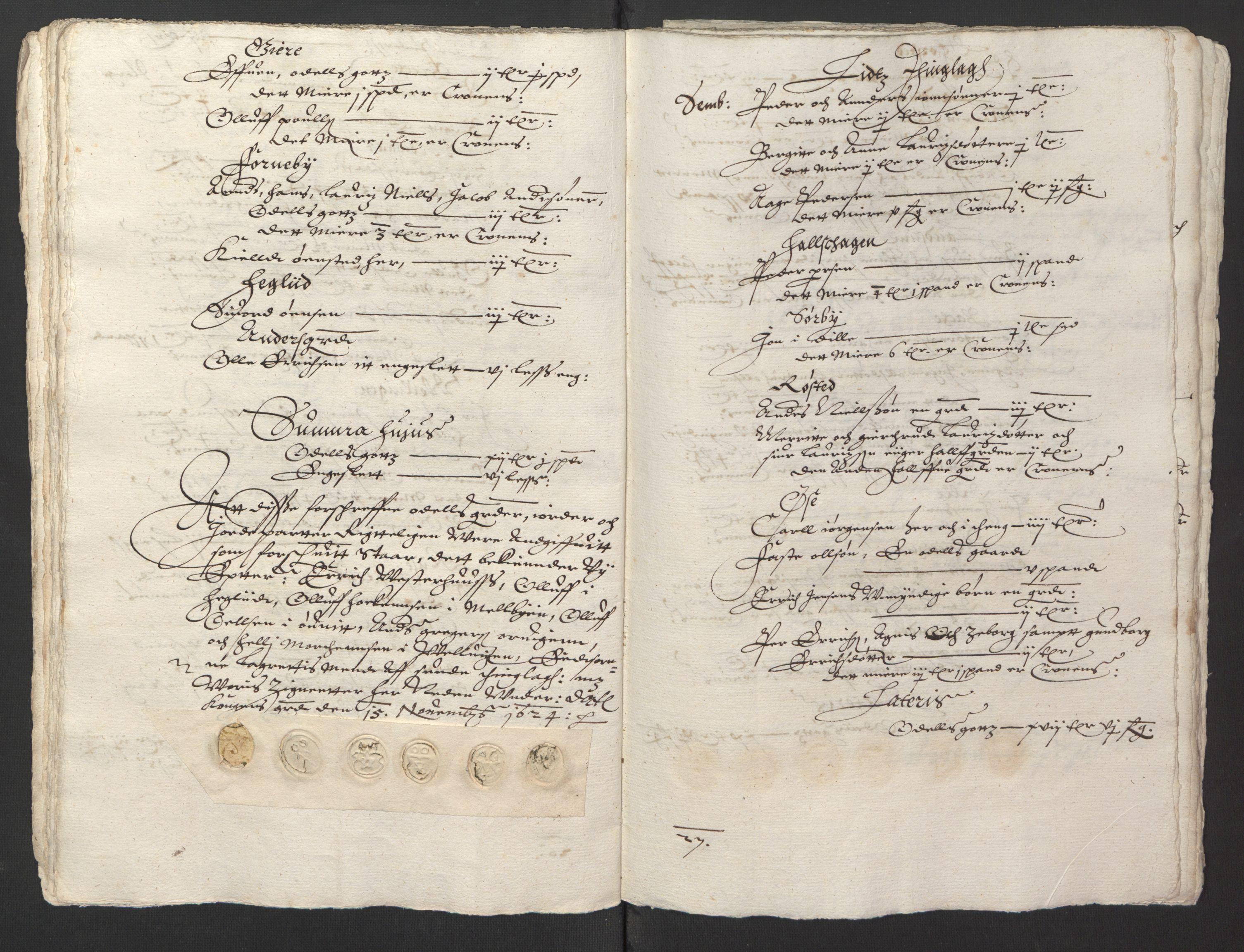 RA, Stattholderembetet 1572-1771, Ek/L0013: Jordebøker til utlikning av rosstjeneste 1624-1626:, 1624-1625, s. 122