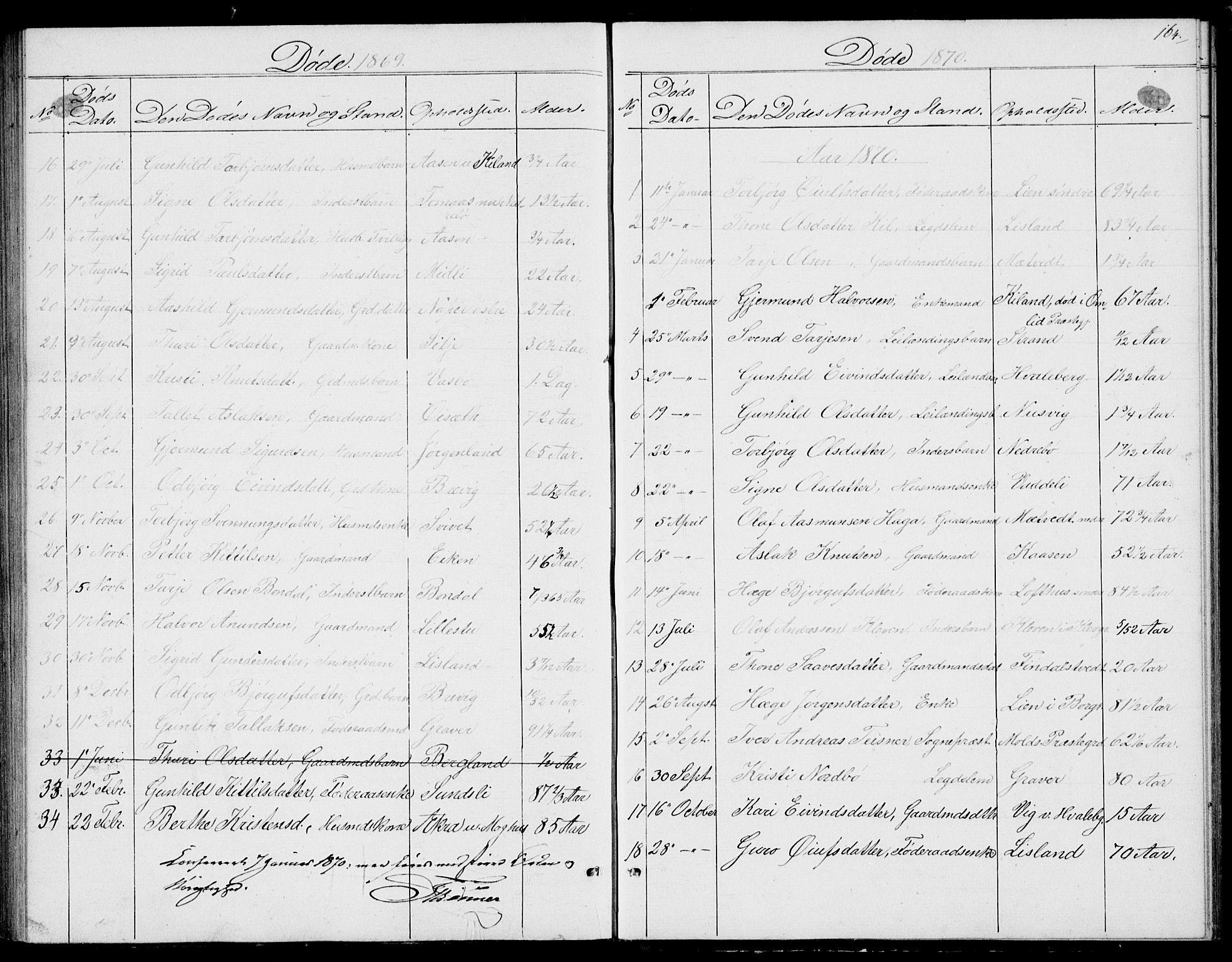 SAKO, Fyresdal kirkebøker, G/Ga/L0004: Klokkerbok nr. I 4, 1864-1892, s. 164