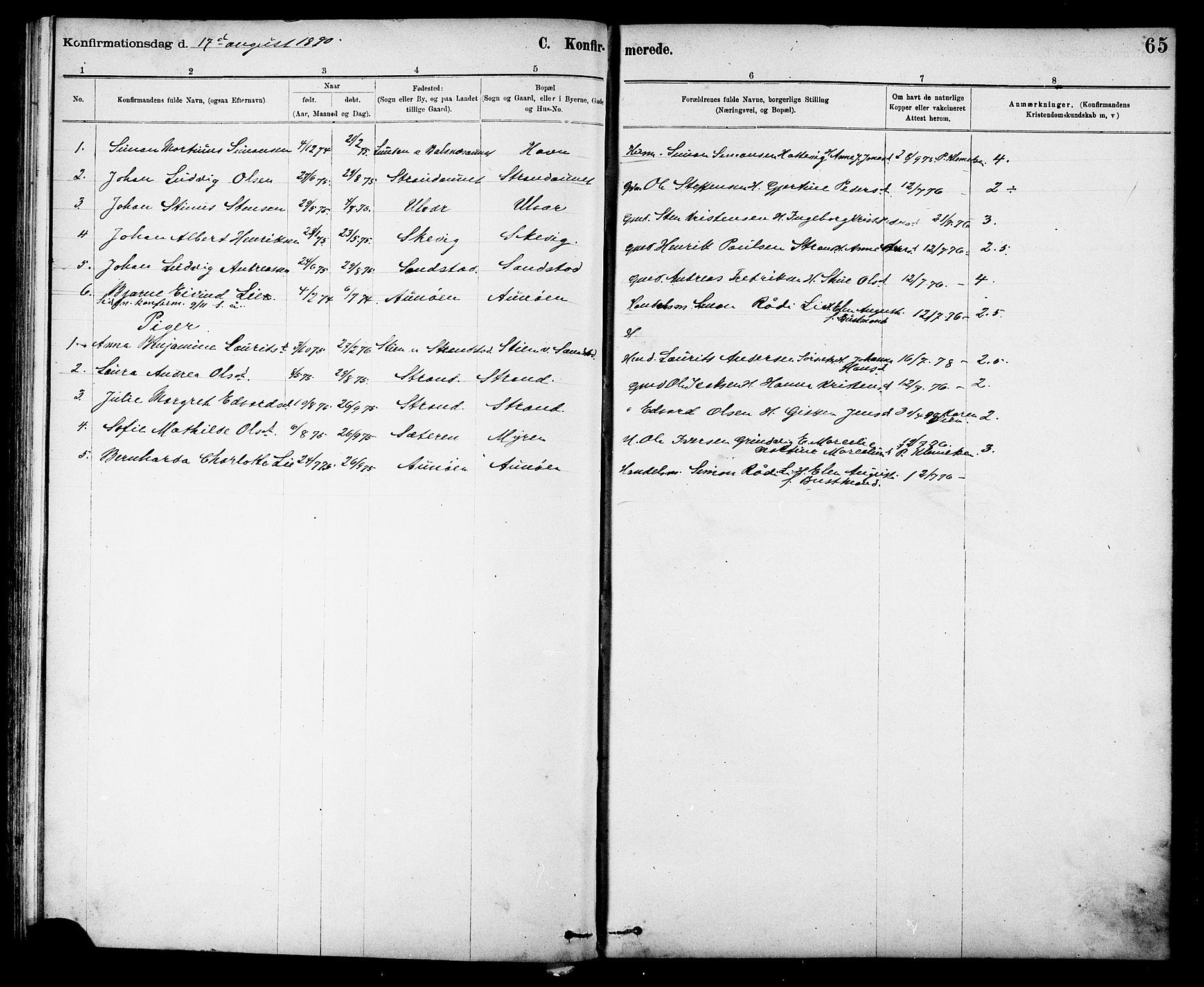 SAT, Ministerialprotokoller, klokkerbøker og fødselsregistre - Sør-Trøndelag, 639/L0573: Klokkerbok nr. 639C01, 1890-1905, s. 65