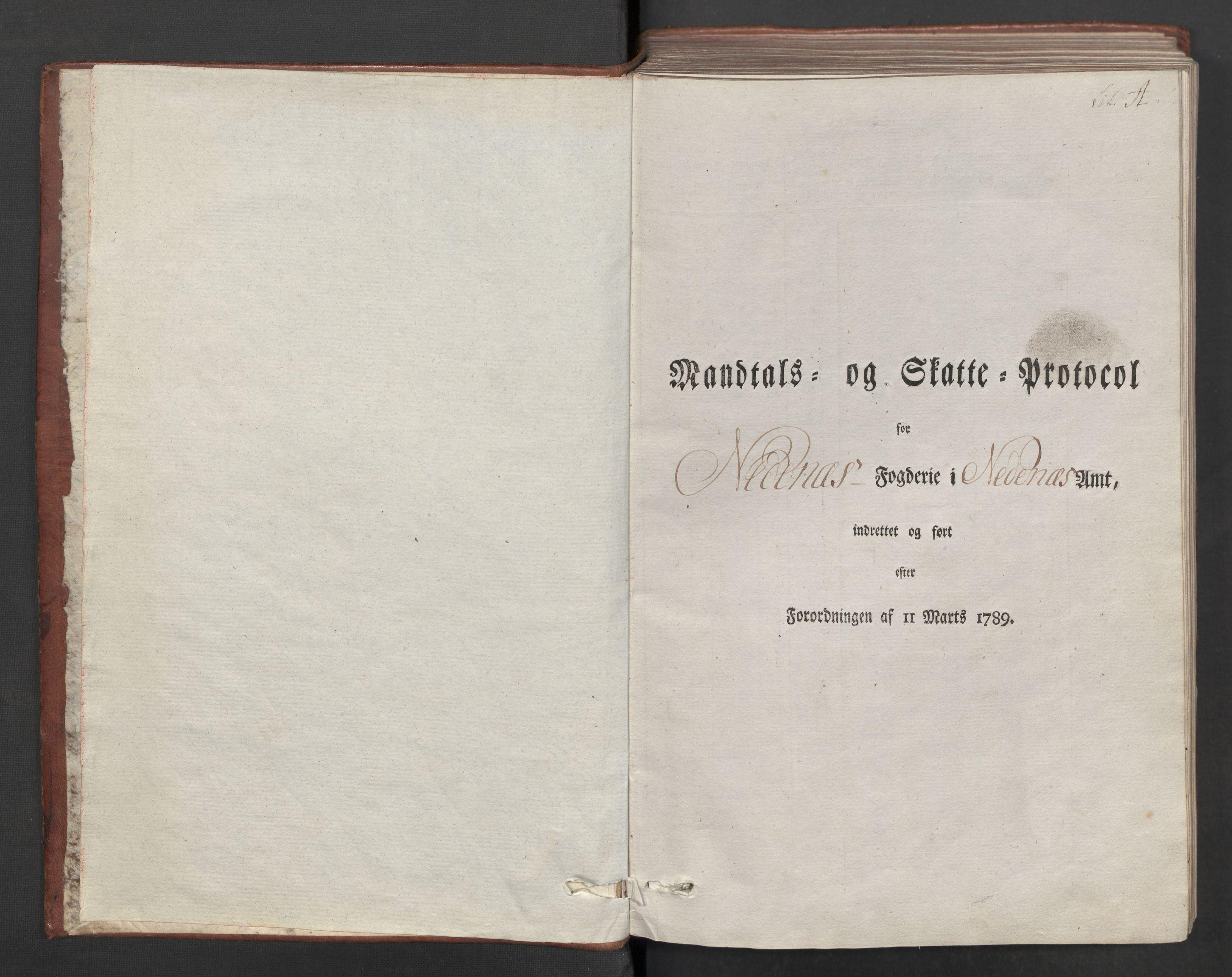 RA, Rentekammeret inntil 1814, Reviderte regnskaper, Mindre regnskaper, Rf/Rfe/L0026: Nedenes fogderi, 1789, s. 3