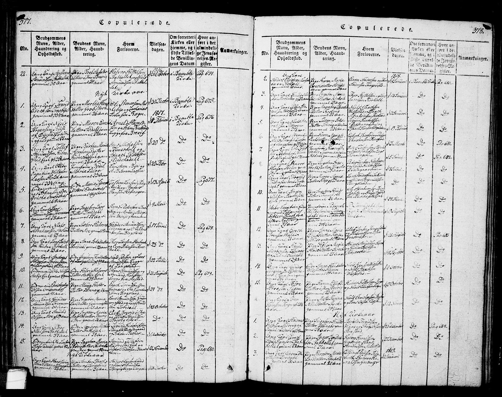 SAKO, Bamble kirkebøker, G/Ga/L0005: Klokkerbok nr. I 5, 1814-1855, s. 377-378