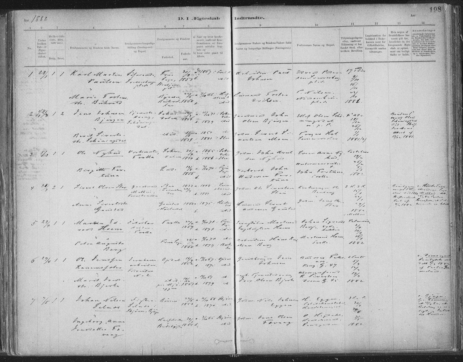 SAT, Ministerialprotokoller, klokkerbøker og fødselsregistre - Sør-Trøndelag, 603/L0162: Ministerialbok nr. 603A01, 1879-1895, s. 198