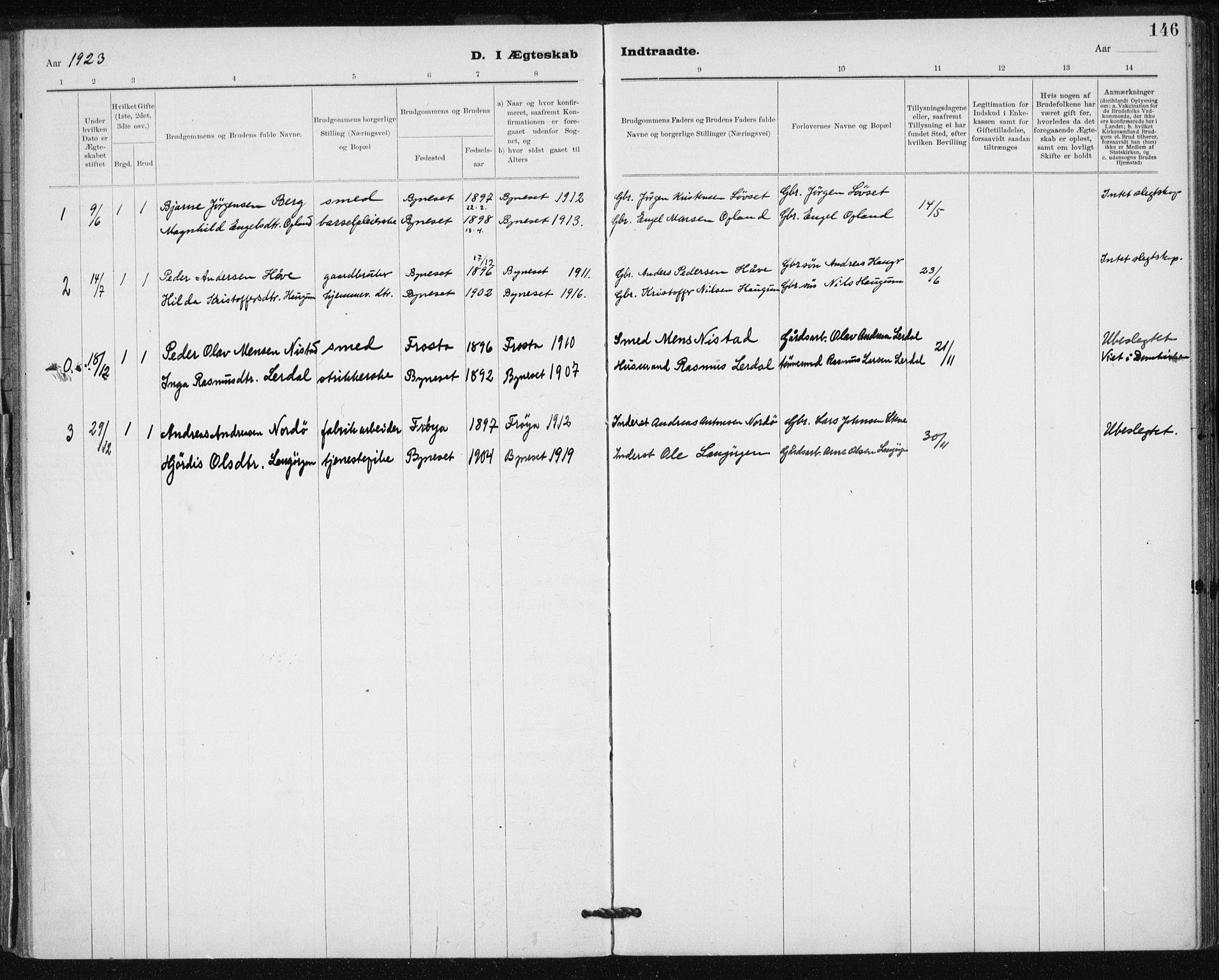 SAT, Ministerialprotokoller, klokkerbøker og fødselsregistre - Sør-Trøndelag, 612/L0381: Ministerialbok nr. 612A13, 1907-1923, s. 146