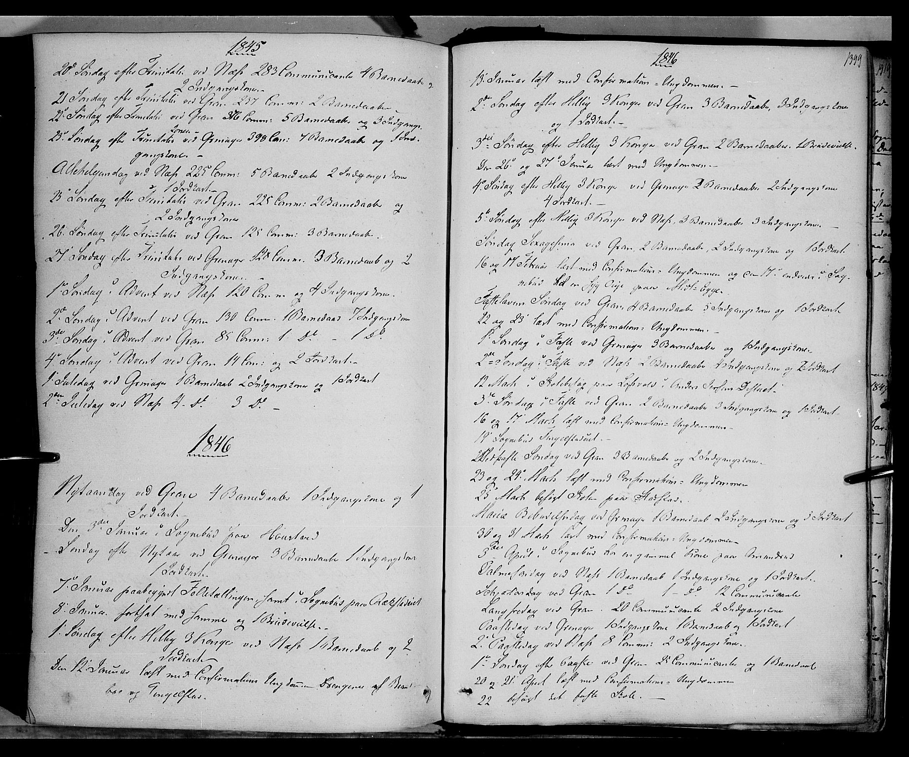 SAH, Gran prestekontor, Ministerialbok nr. 11, 1842-1856, s. 1398-1399