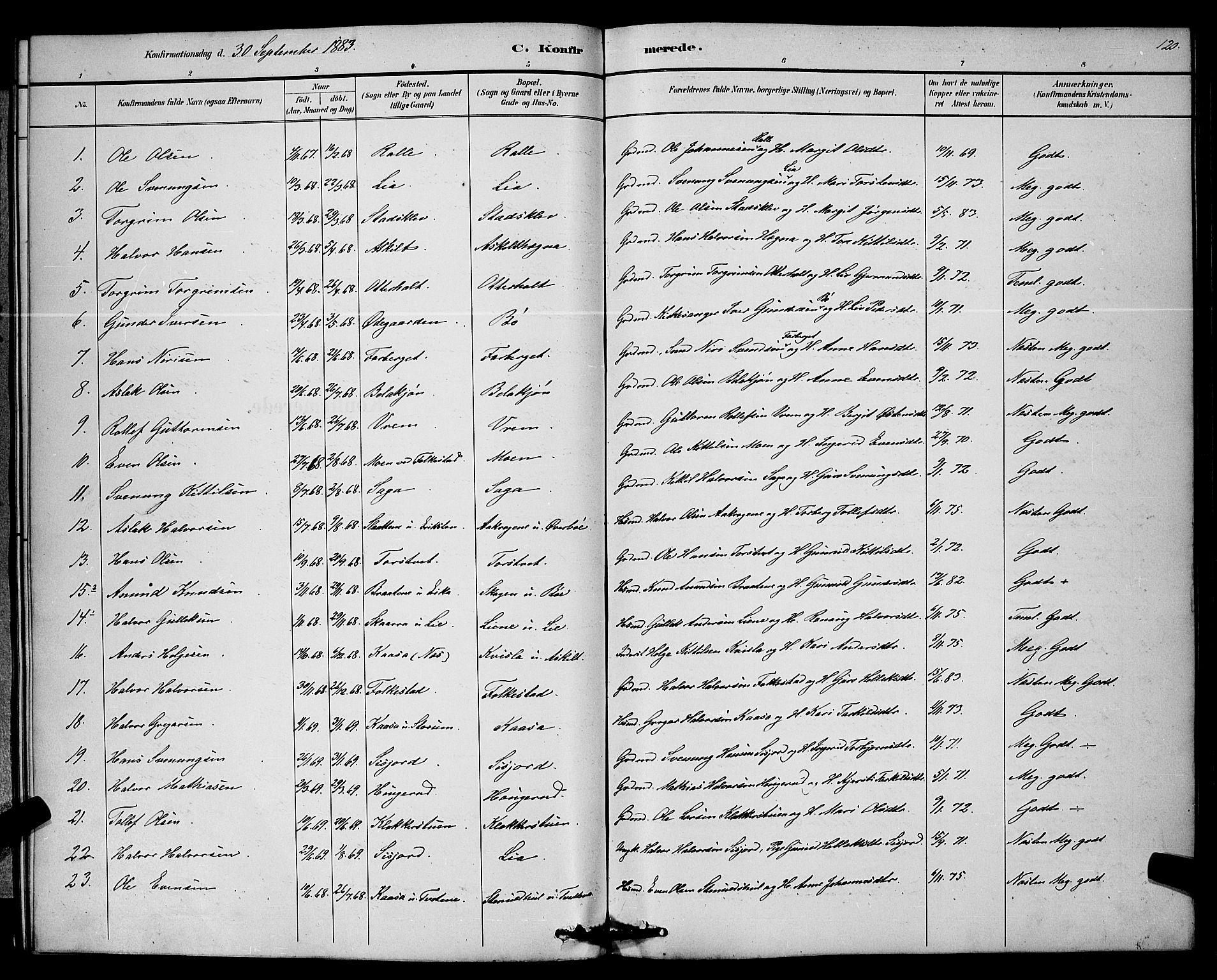 SAKO, Bø kirkebøker, G/Ga/L0005: Klokkerbok nr. 5, 1883-1897, s. 120