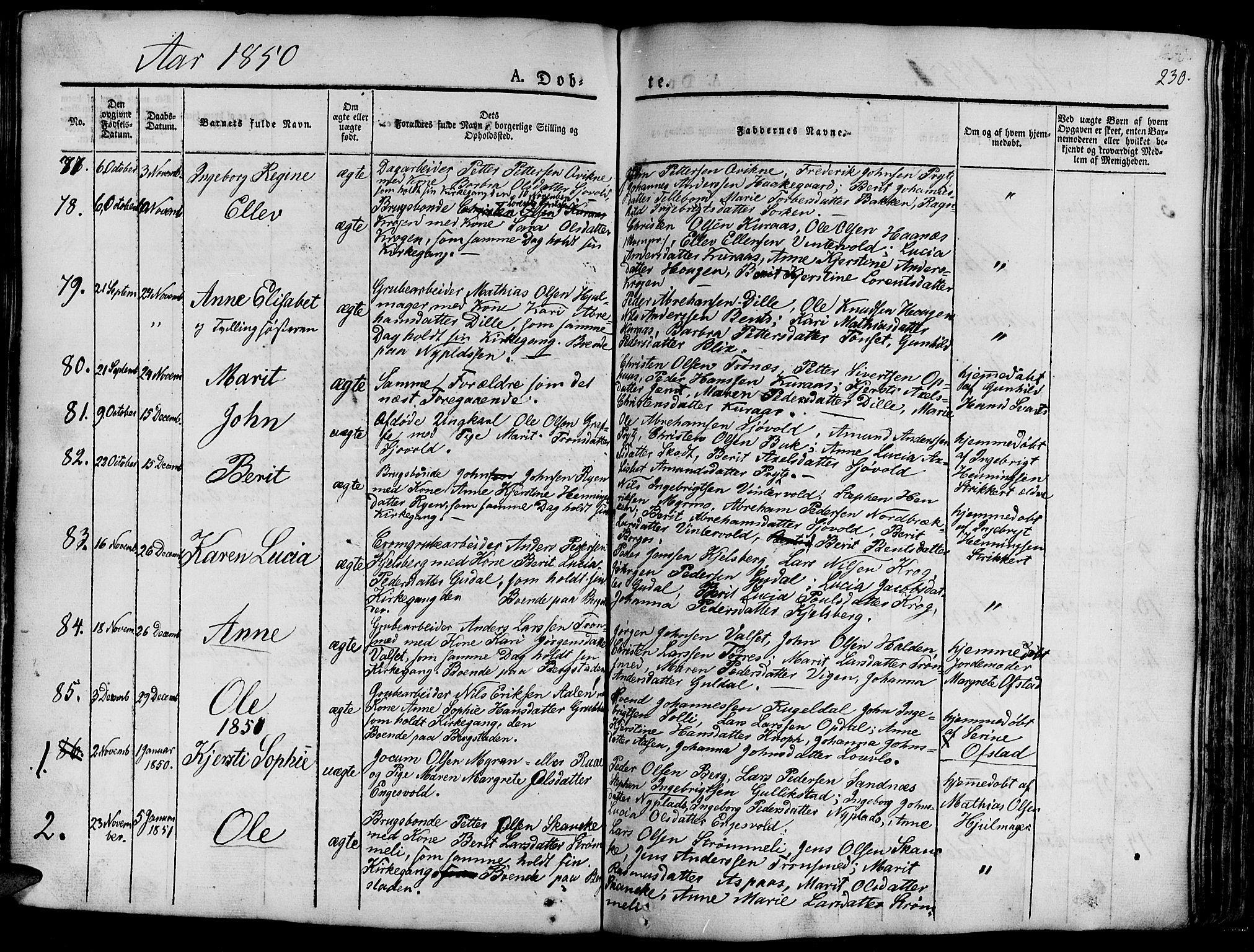 SAT, Ministerialprotokoller, klokkerbøker og fødselsregistre - Sør-Trøndelag, 681/L0938: Klokkerbok nr. 681C02, 1829-1879, s. 230