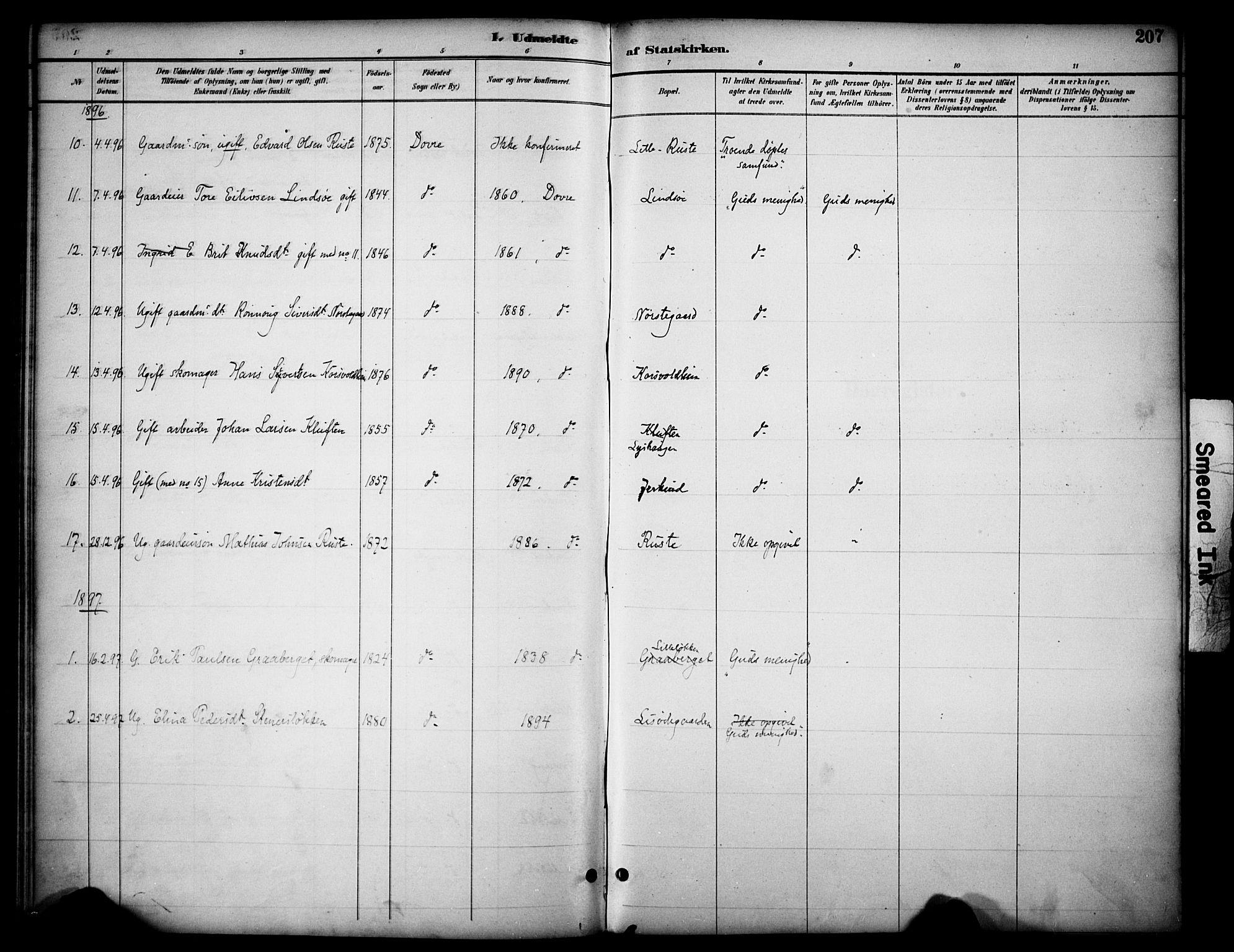 SAH, Dovre prestekontor, Ministerialbok nr. 3, 1891-1901, s. 207