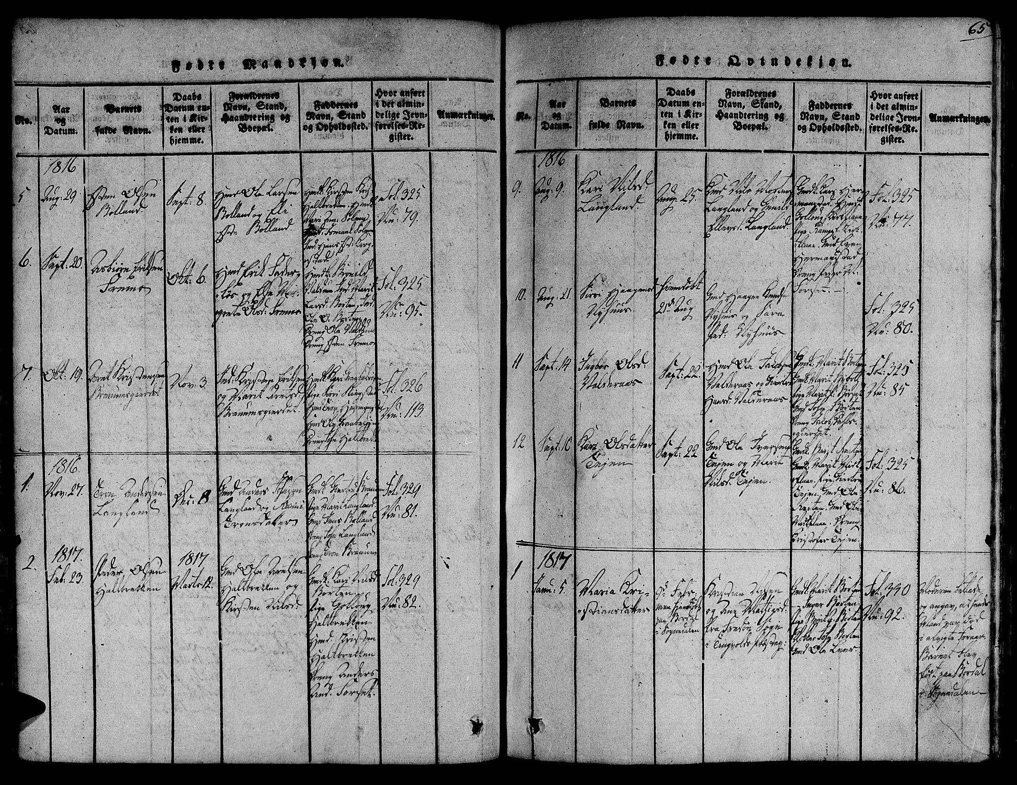 SAT, Ministerialprotokoller, klokkerbøker og fødselsregistre - Sør-Trøndelag, 691/L1066: Ministerialbok nr. 691A03 /2, 1816-1826, s. 65