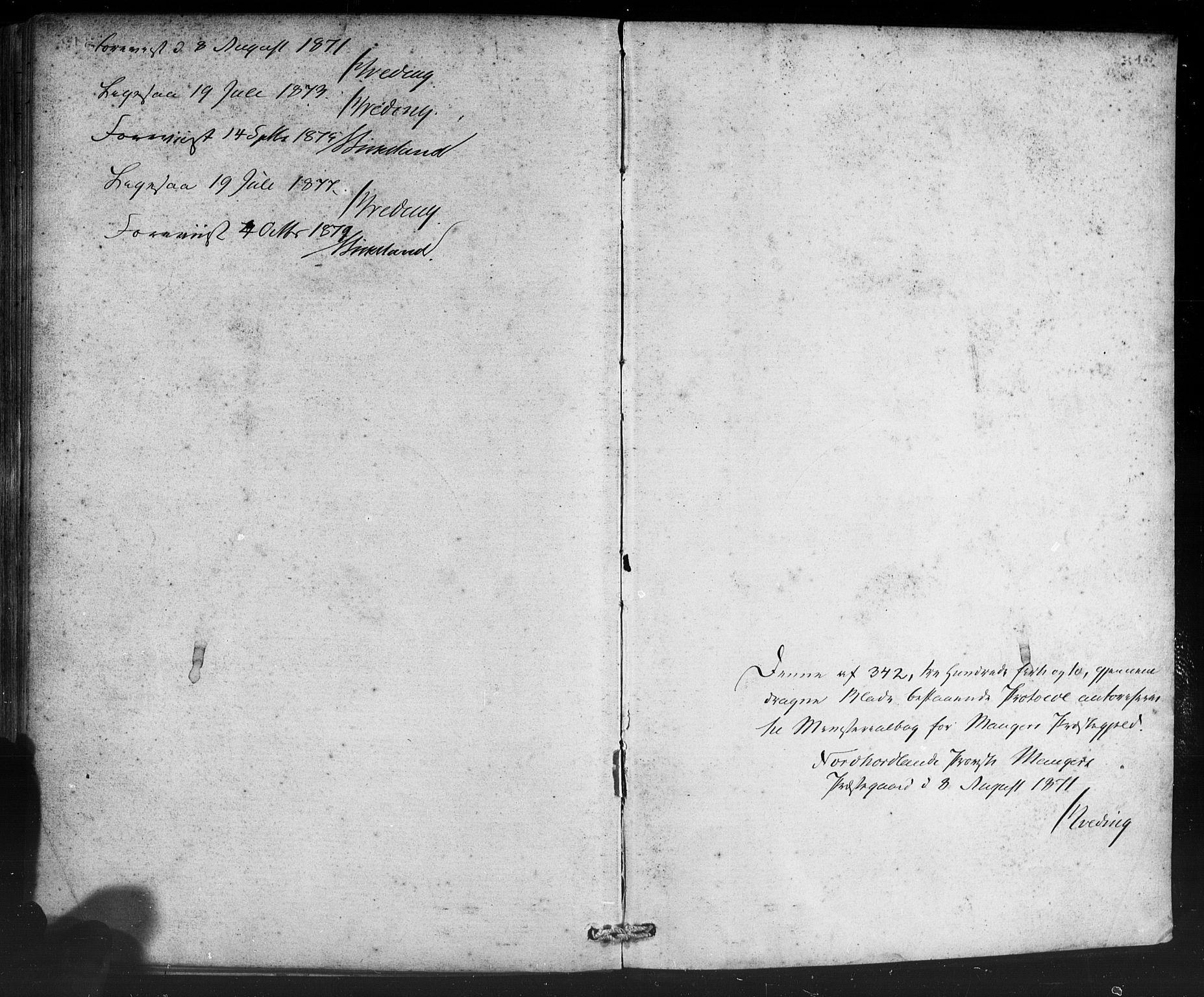 SAB, Manger sokneprestembete, H/Haa: Ministerialbok nr. A 8, 1871-1880