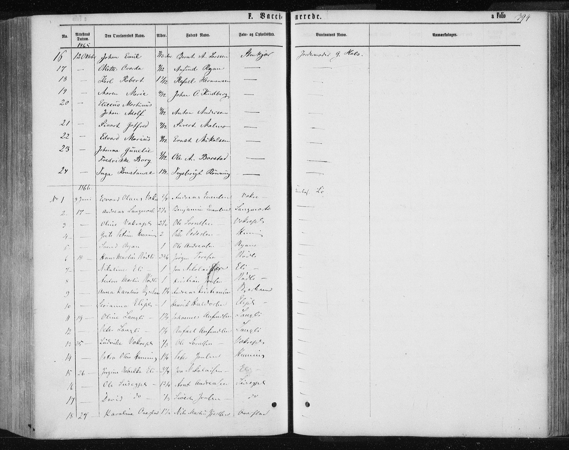 SAT, Ministerialprotokoller, klokkerbøker og fødselsregistre - Nord-Trøndelag, 735/L0345: Ministerialbok nr. 735A08 /1, 1863-1872, s. 394