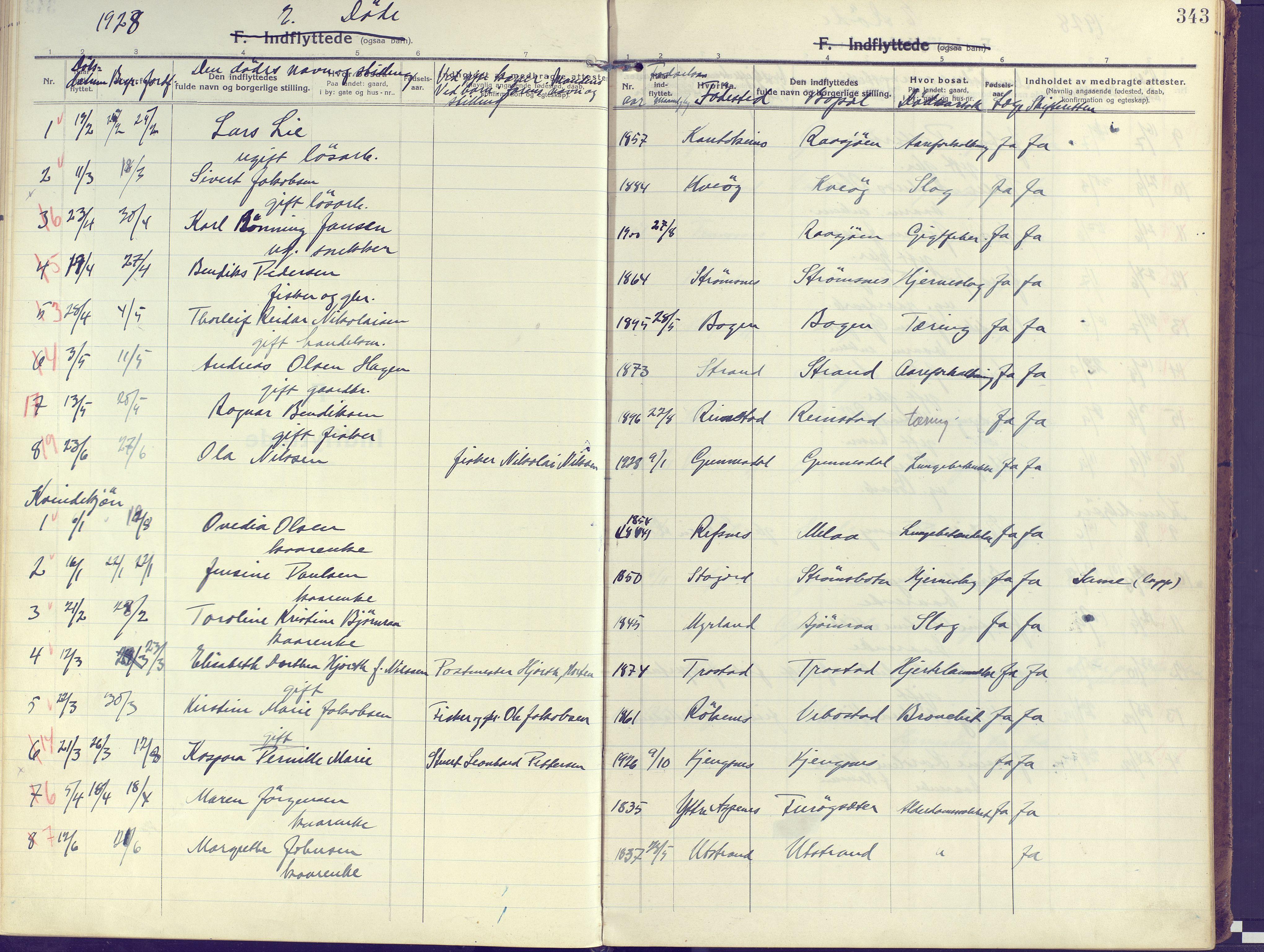 SATØ, Kvæfjord sokneprestkontor, G/Ga/Gaa/L0007kirke: Ministerialbok nr. 7, 1915-1931, s. 343
