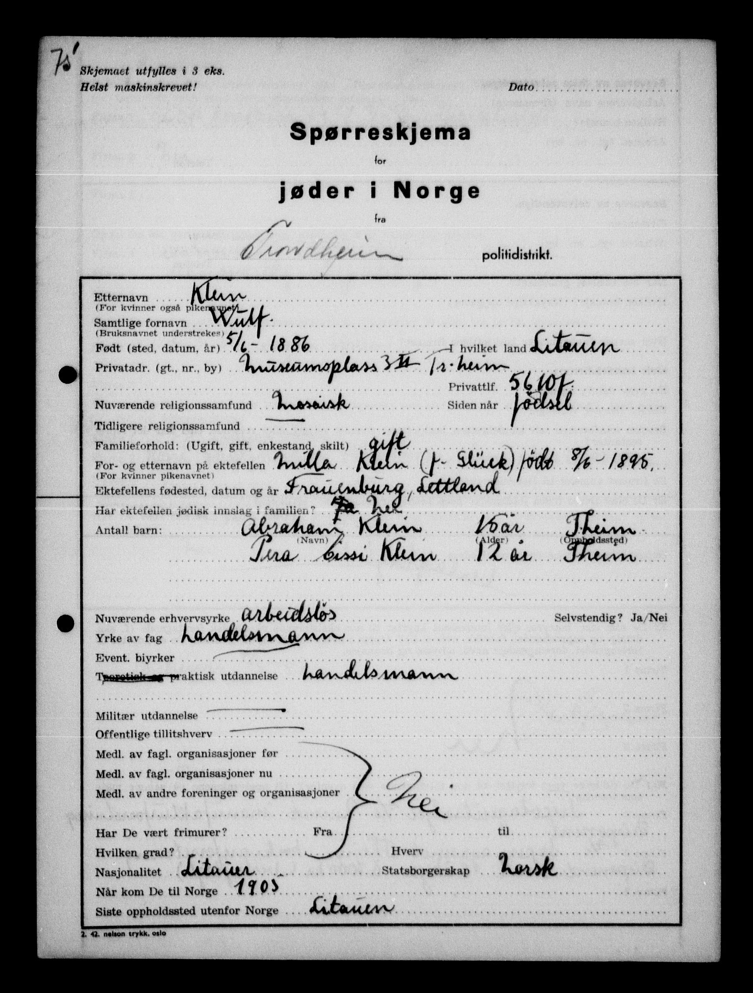 RA, Statspolitiet - Hovedkontoret / Osloavdelingen, G/Ga/L0013: Spørreskjema for jøder i Norge. 1: Sandefjord-Trondheim. 2: Tønsberg- Ålesund.  3: Skriv vedr. jøder A-H.  , 1942-1943, s. 109
