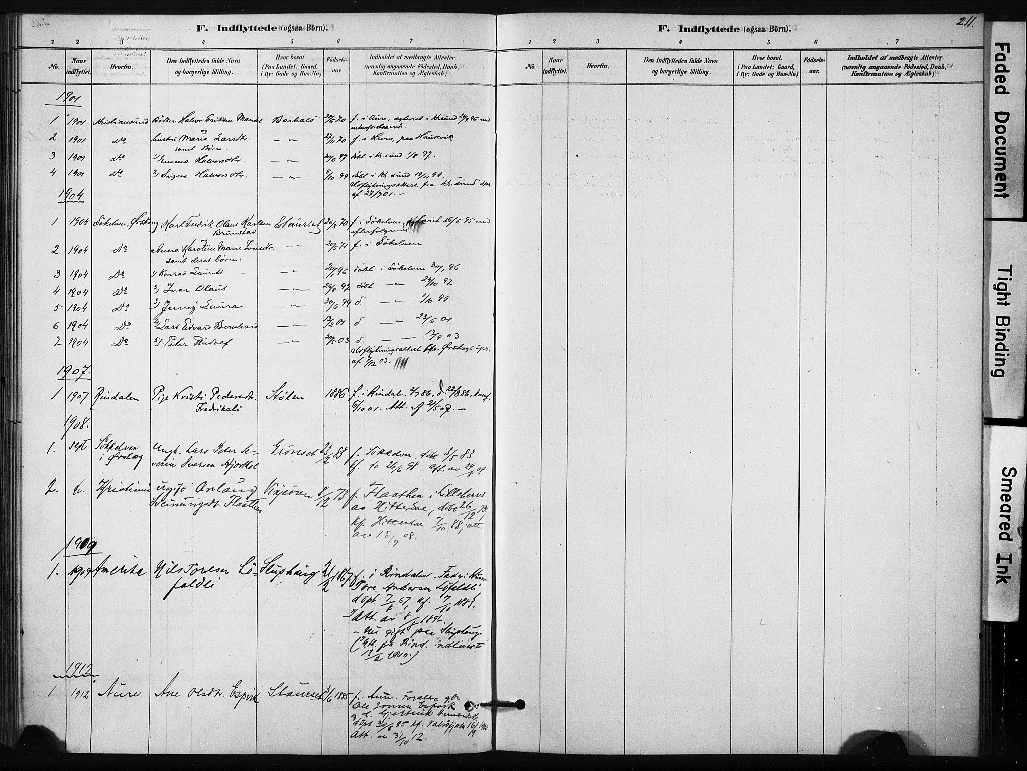 SAT, Ministerialprotokoller, klokkerbøker og fødselsregistre - Sør-Trøndelag, 631/L0512: Ministerialbok nr. 631A01, 1879-1912, s. 211