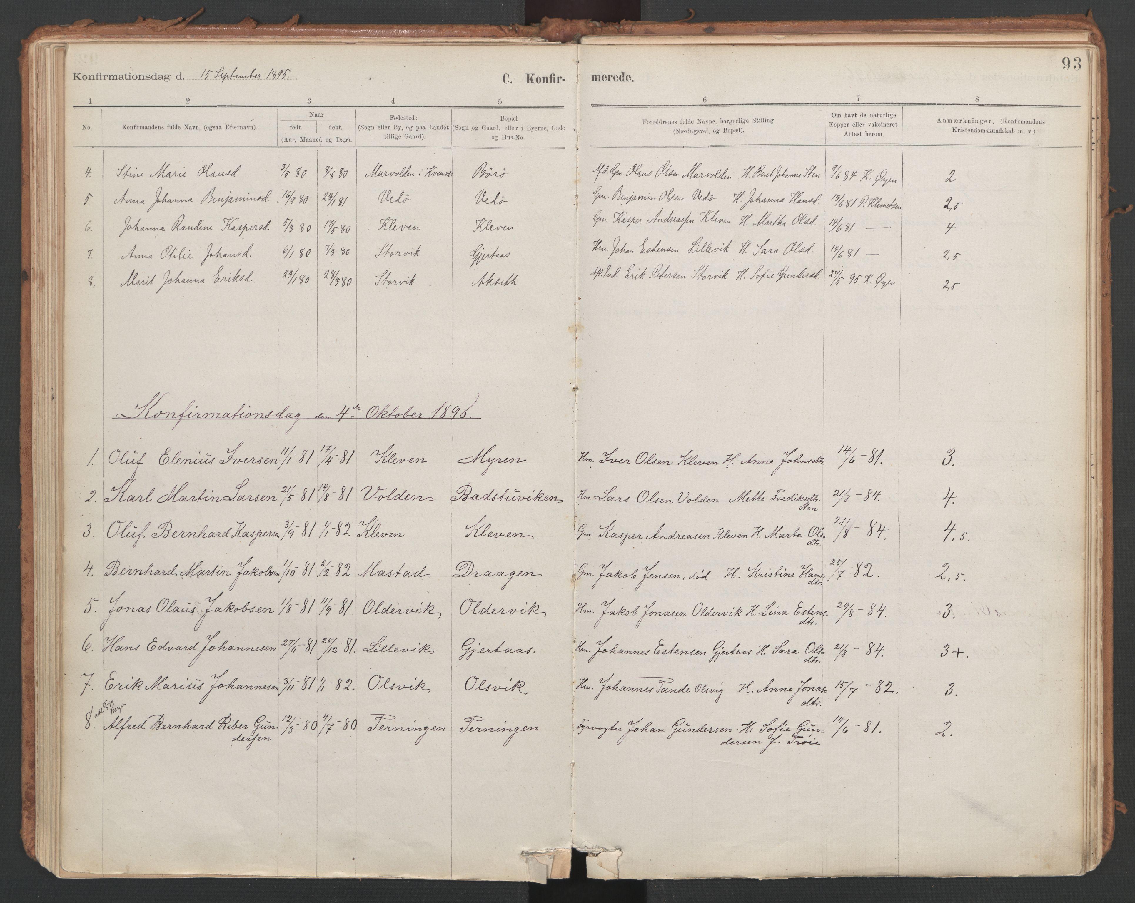 SAT, Ministerialprotokoller, klokkerbøker og fødselsregistre - Sør-Trøndelag, 639/L0572: Ministerialbok nr. 639A01, 1890-1920, s. 93