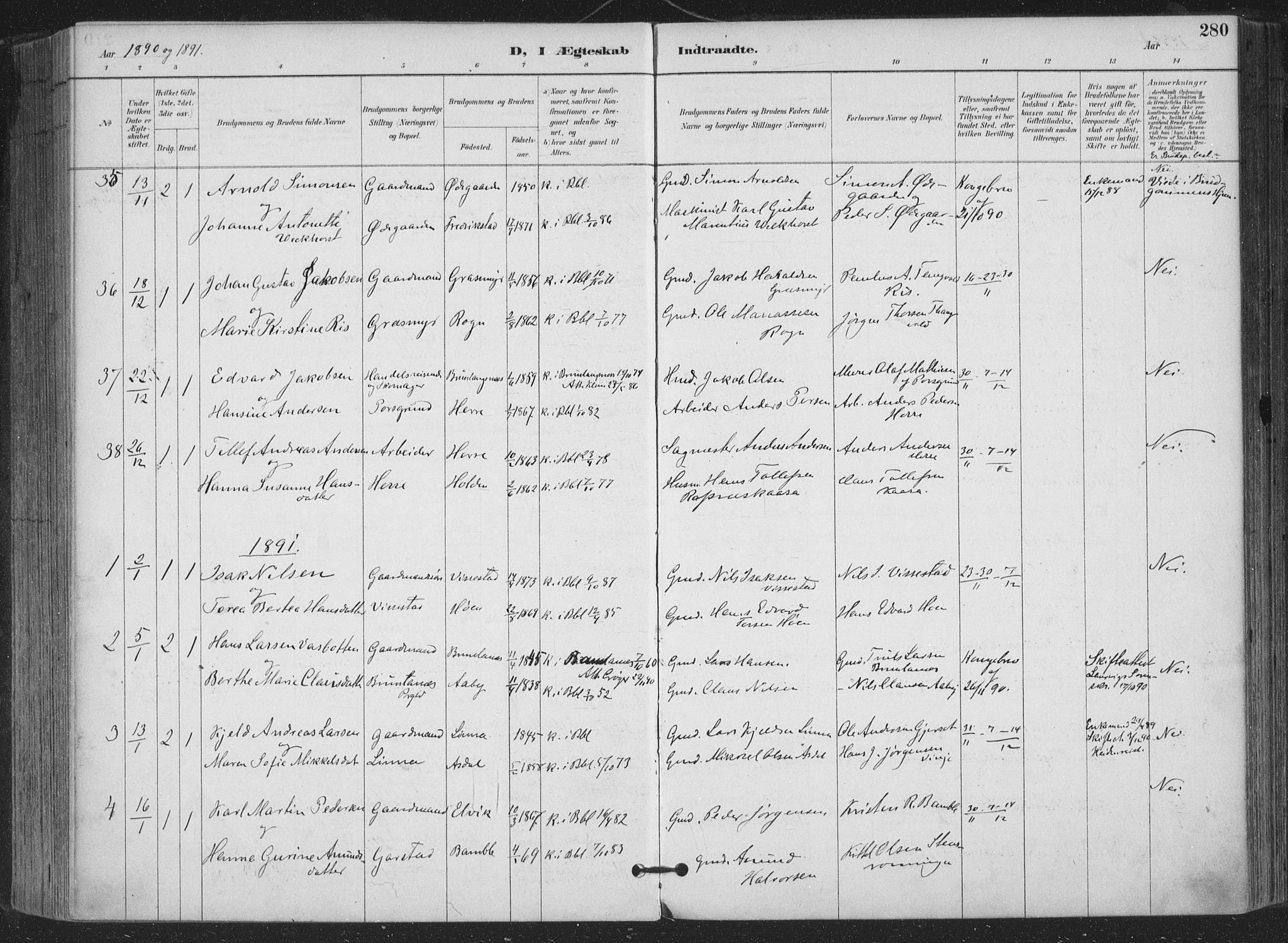 SAKO, Bamble kirkebøker, F/Fa/L0008: Ministerialbok nr. I 8, 1888-1900, s. 280