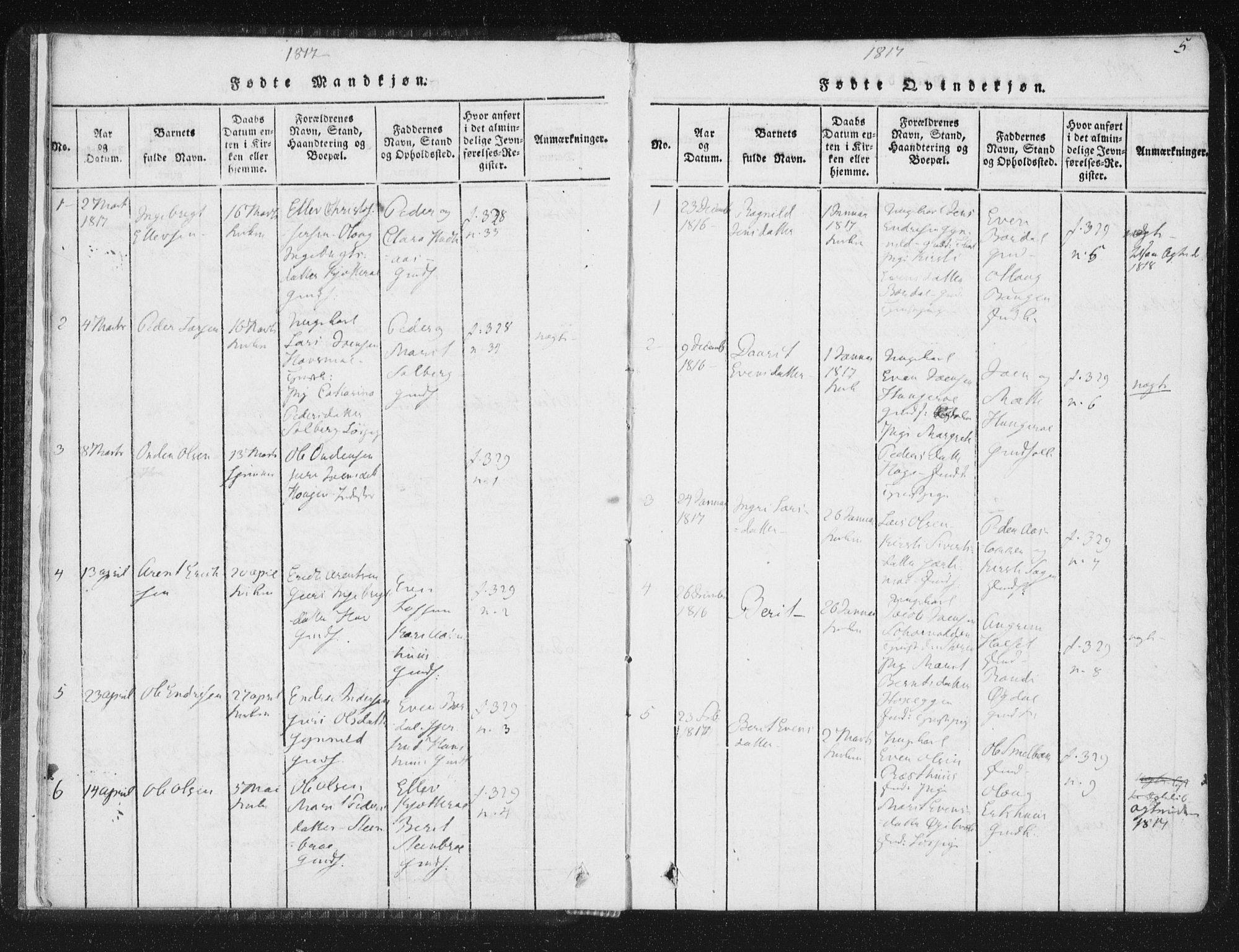 SAT, Ministerialprotokoller, klokkerbøker og fødselsregistre - Sør-Trøndelag, 689/L1037: Ministerialbok nr. 689A02, 1816-1842, s. 5