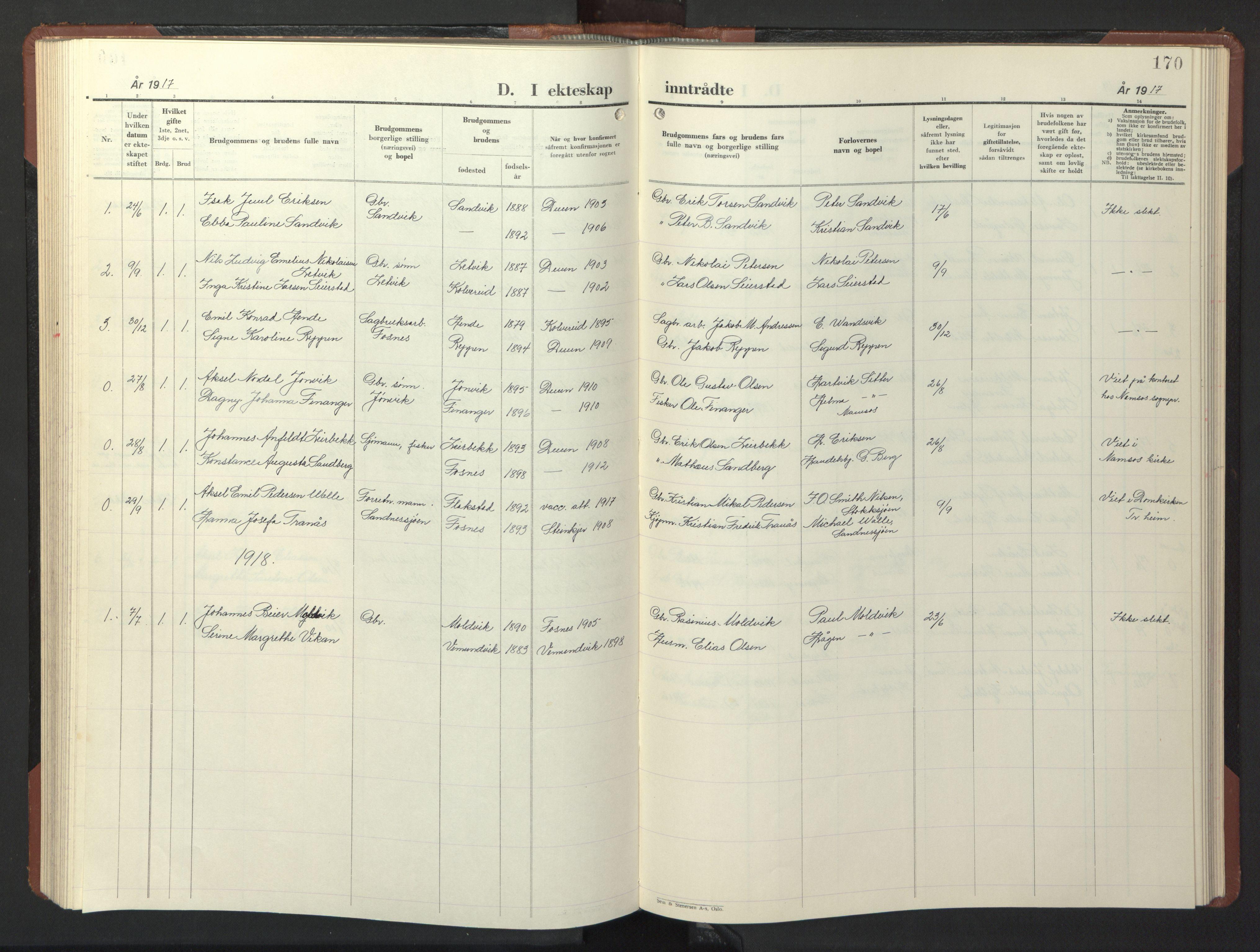 SAT, Ministerialprotokoller, klokkerbøker og fødselsregistre - Nord-Trøndelag, 773/L0625: Klokkerbok nr. 773C01, 1910-1952, s. 170