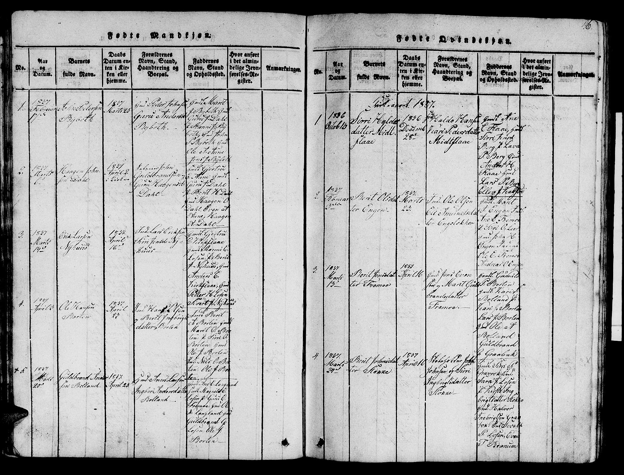 SAT, Ministerialprotokoller, klokkerbøker og fødselsregistre - Sør-Trøndelag, 693/L1121: Klokkerbok nr. 693C02, 1816-1869, s. 46
