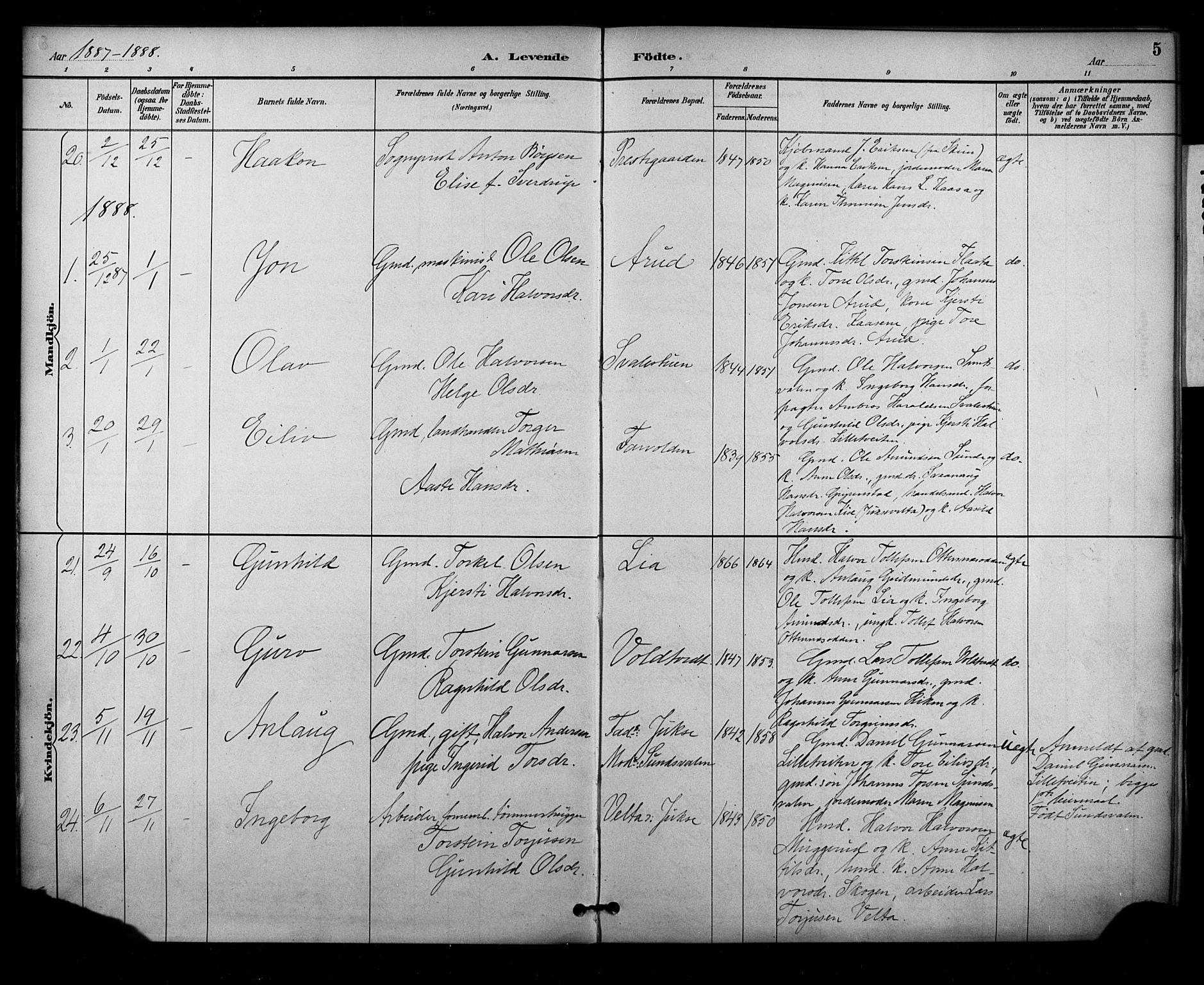 SAKO, Sauherad kirkebøker, F/Fa/L0009: Ministerialbok nr. I 9, 1887-1912, s. 5