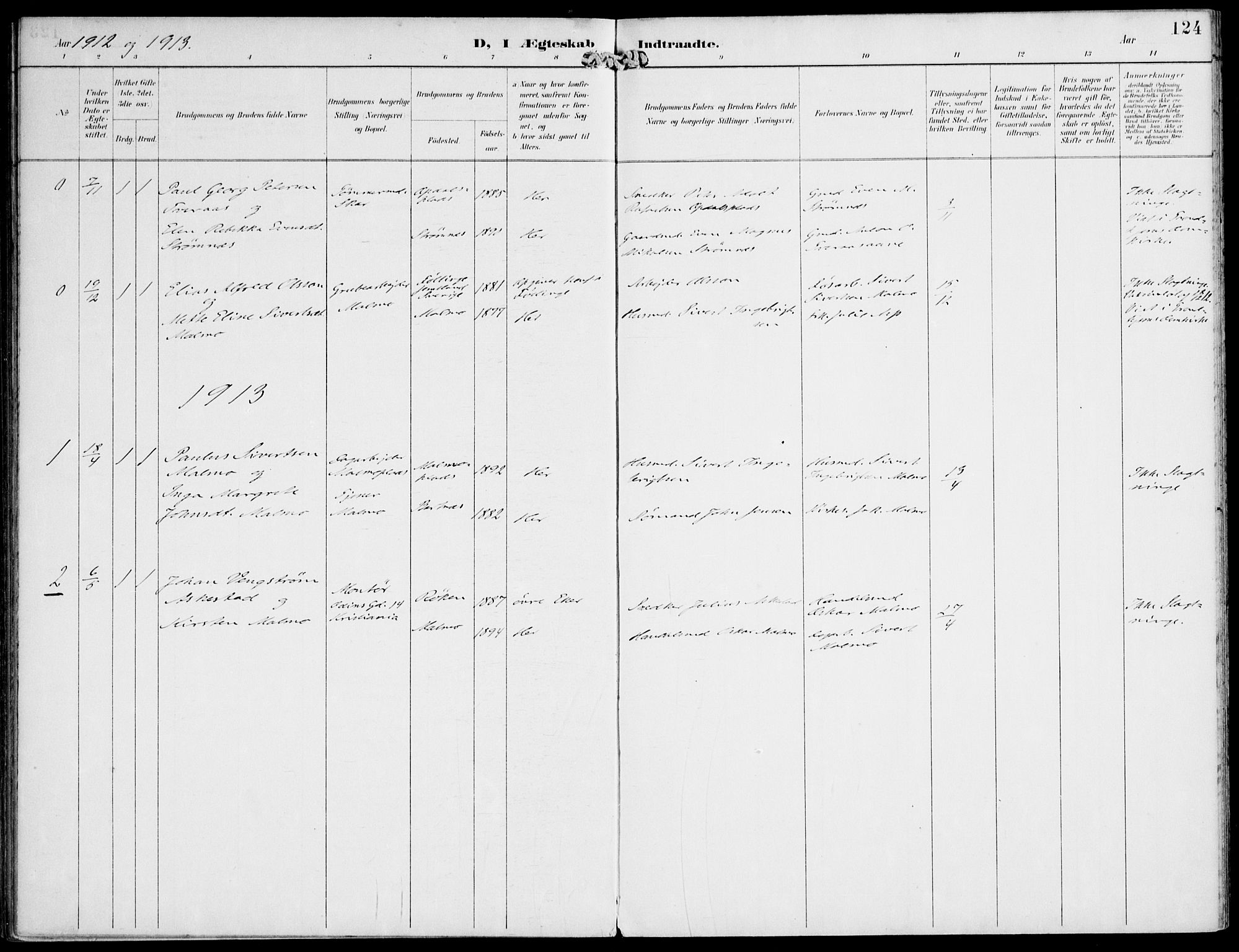 SAT, Ministerialprotokoller, klokkerbøker og fødselsregistre - Nord-Trøndelag, 745/L0430: Ministerialbok nr. 745A02, 1895-1913, s. 124