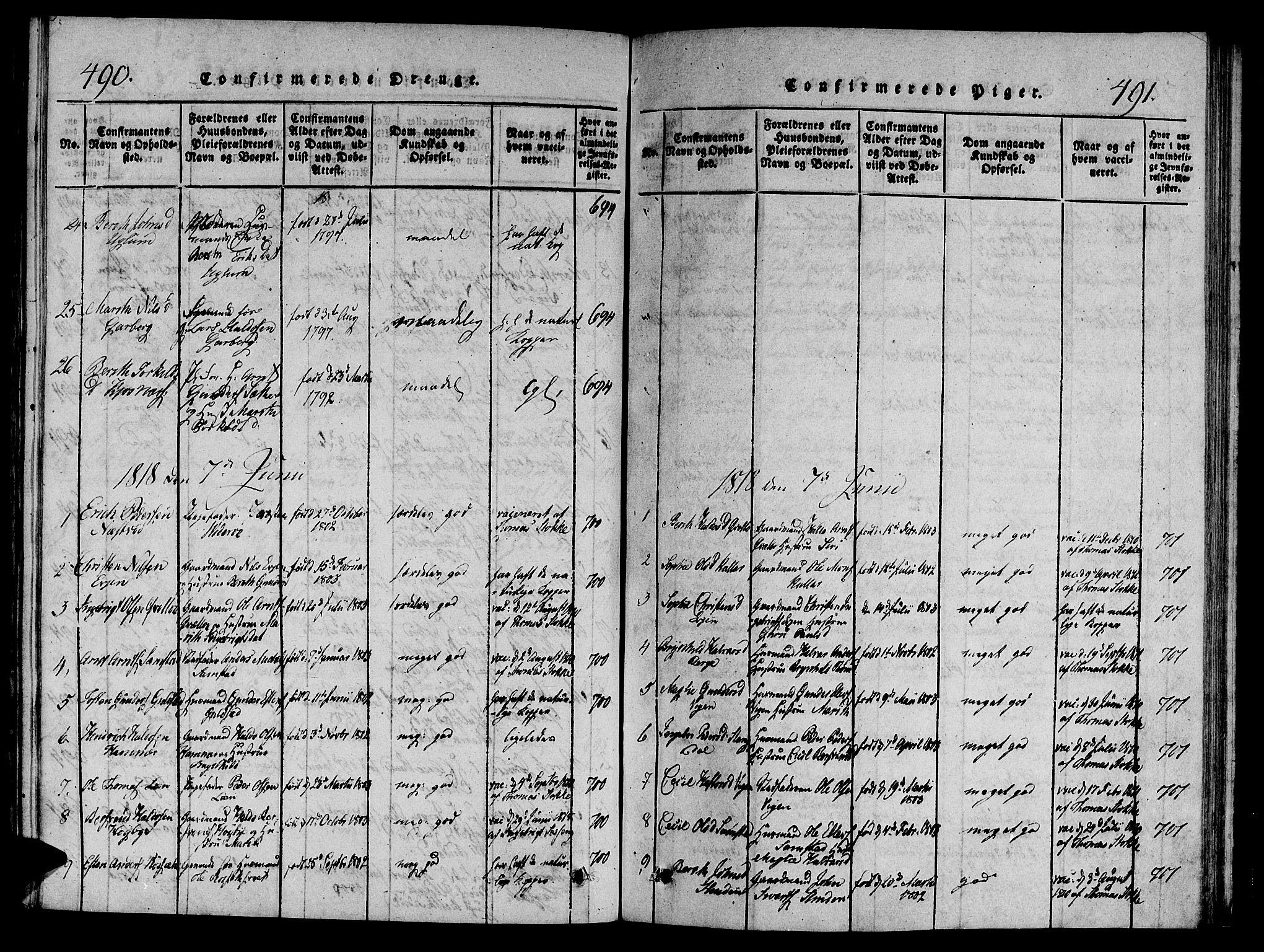 SAT, Ministerialprotokoller, klokkerbøker og fødselsregistre - Sør-Trøndelag, 695/L1141: Ministerialbok nr. 695A04 /1, 1816-1824, s. 490-491