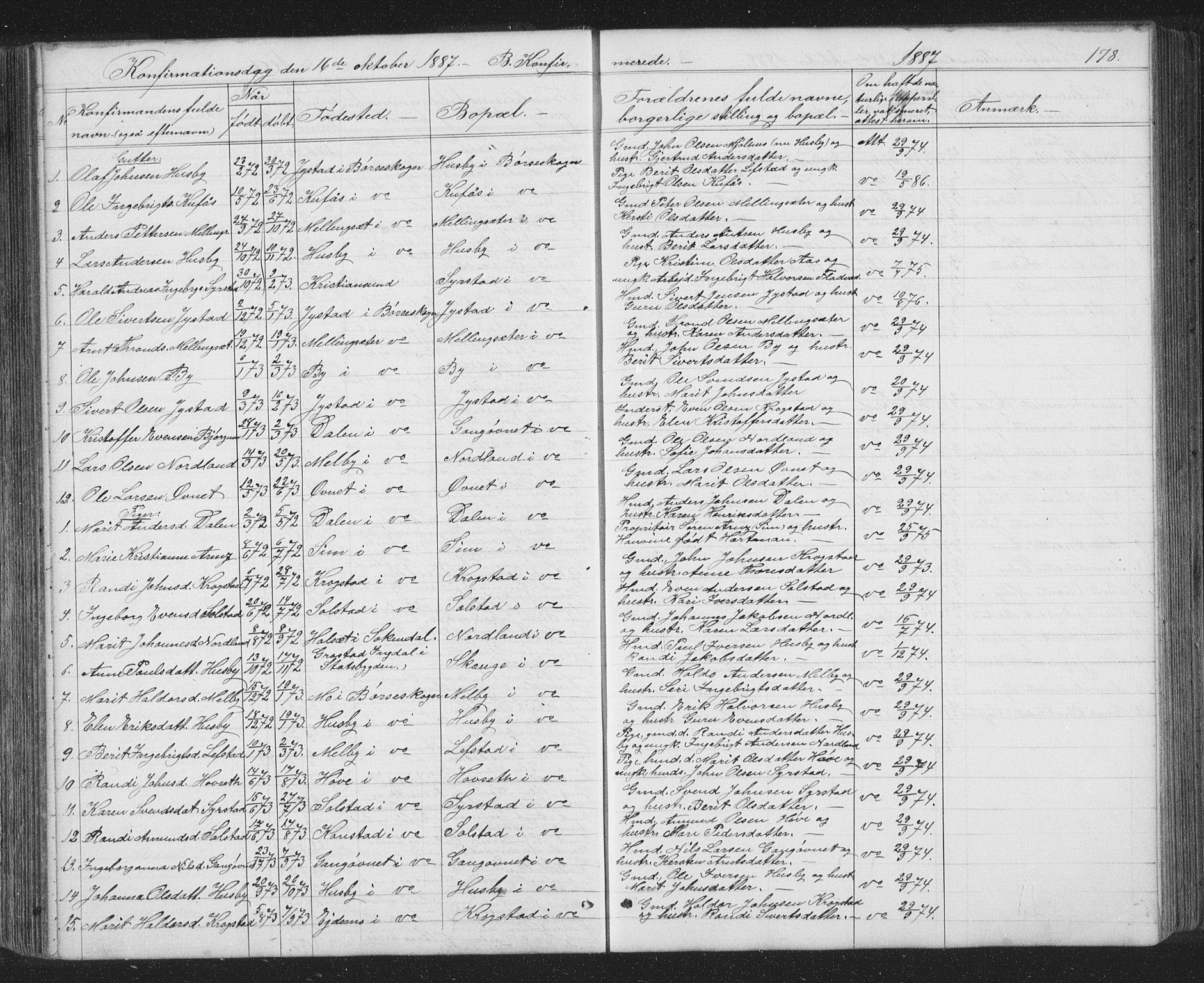 SAT, Ministerialprotokoller, klokkerbøker og fødselsregistre - Sør-Trøndelag, 667/L0798: Klokkerbok nr. 667C03, 1867-1929, s. 178
