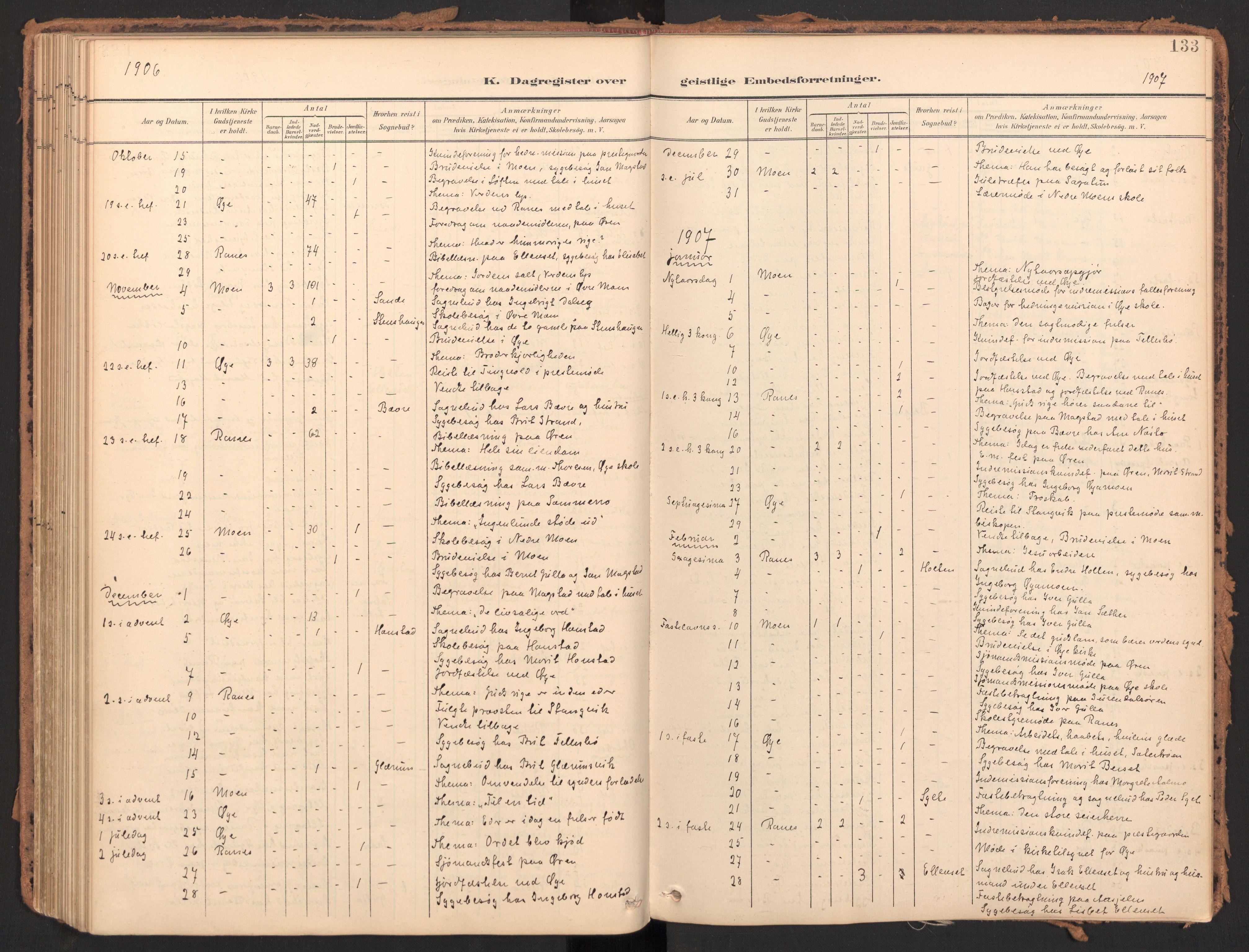SAT, Ministerialprotokoller, klokkerbøker og fødselsregistre - Møre og Romsdal, 595/L1048: Ministerialbok nr. 595A10, 1900-1917, s. 133