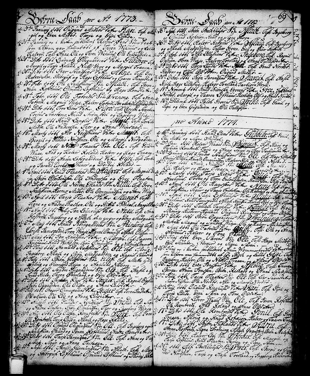 SAKO, Vinje kirkebøker, F/Fa/L0002: Ministerialbok nr. I 2, 1767-1814, s. 69