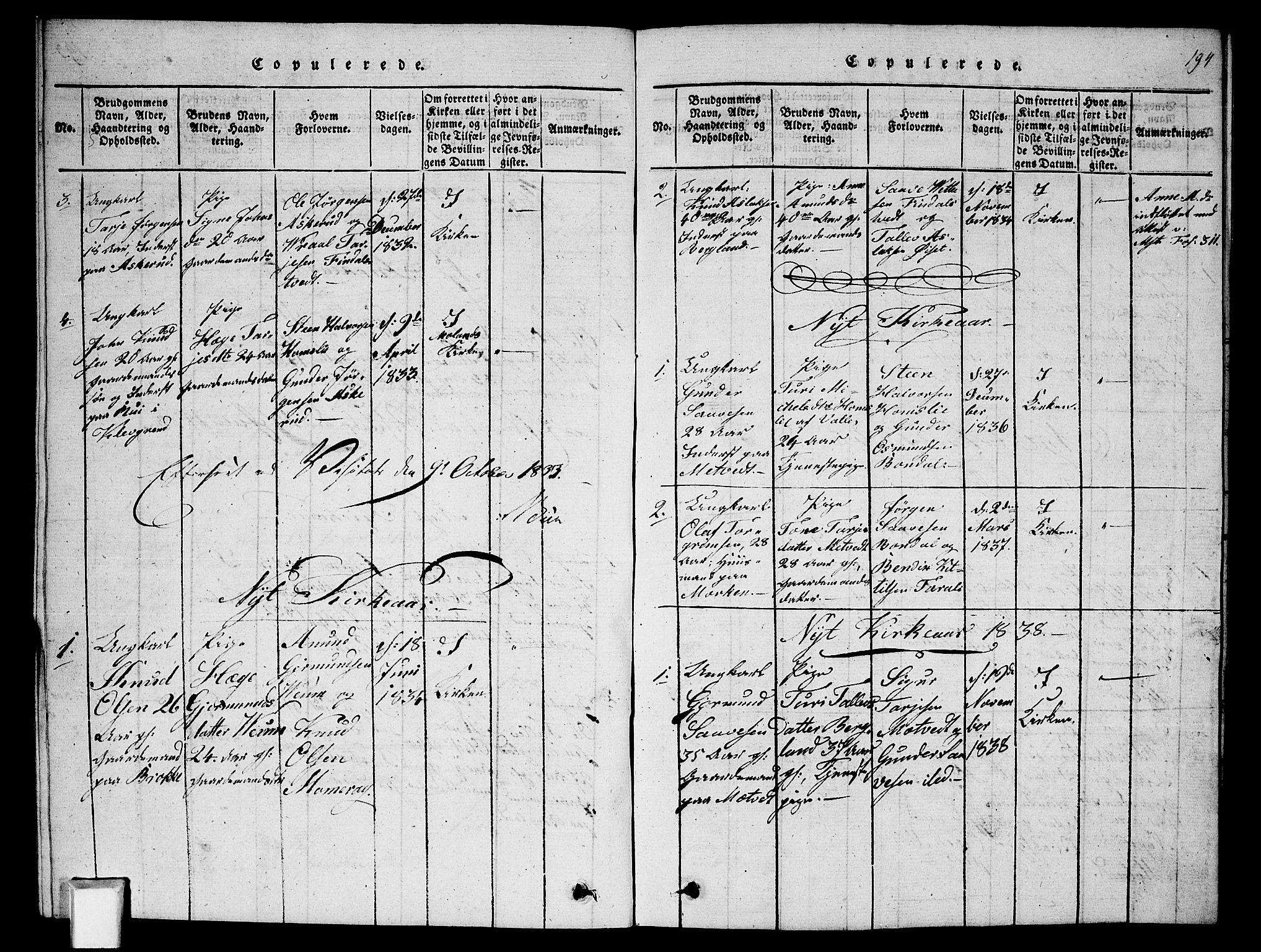 SAKO, Fyresdal kirkebøker, G/Ga/L0002: Klokkerbok nr. I 2, 1815-1857, s. 194