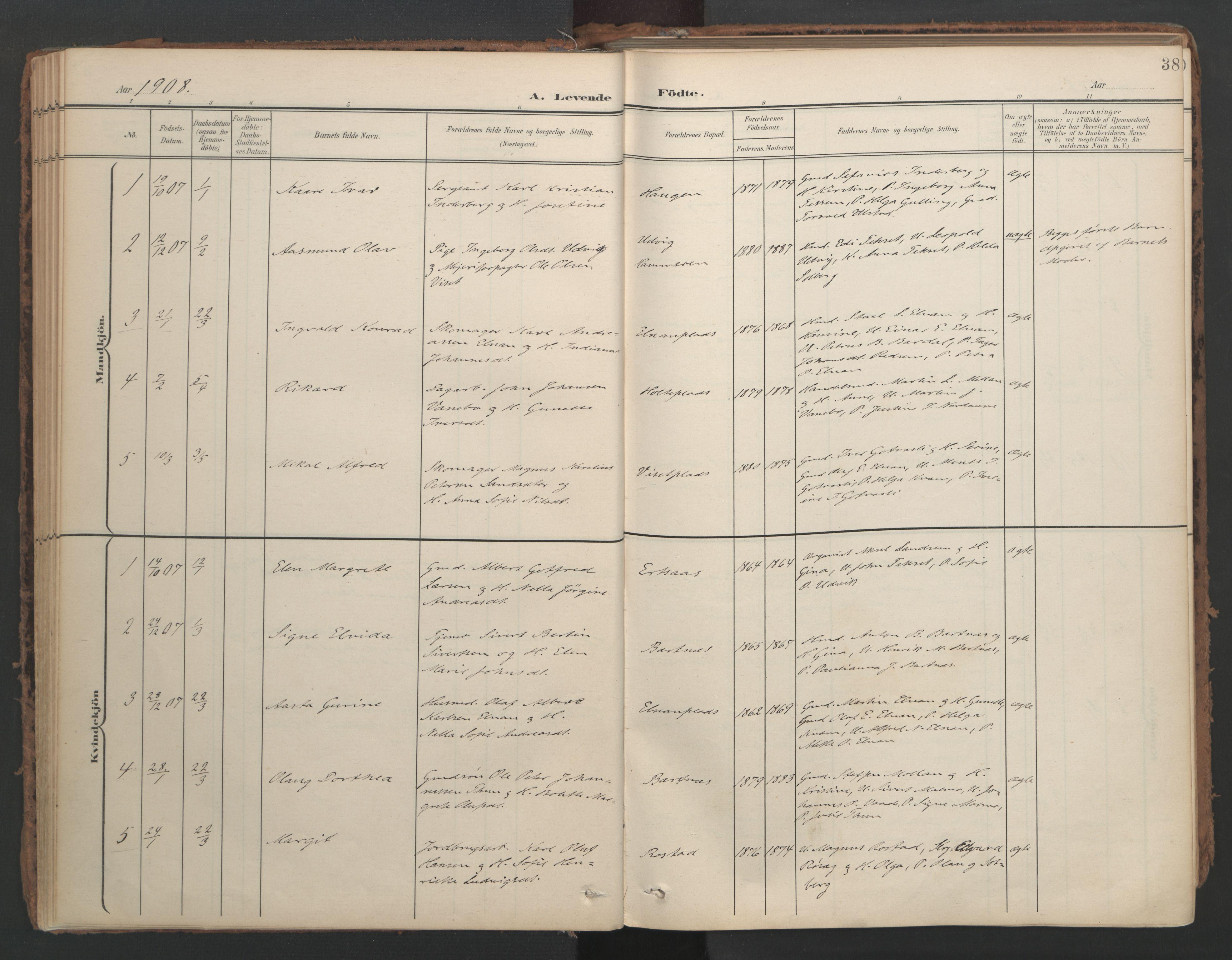 SAT, Ministerialprotokoller, klokkerbøker og fødselsregistre - Nord-Trøndelag, 741/L0397: Ministerialbok nr. 741A11, 1901-1911, s. 38