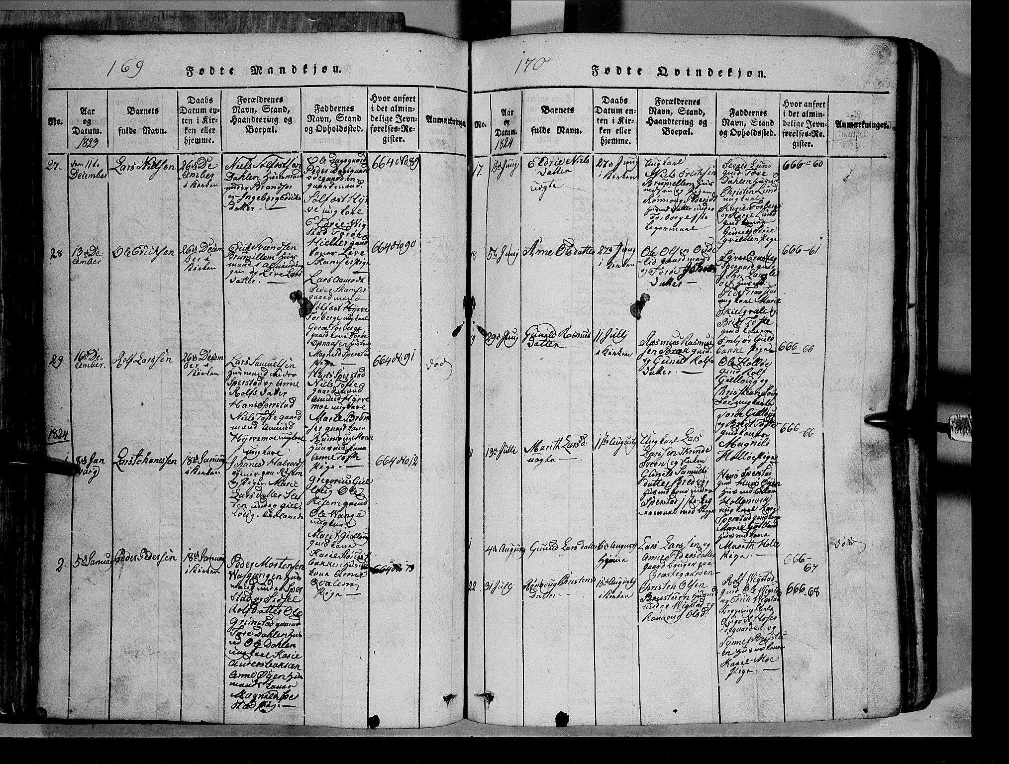 SAH, Lom prestekontor, L/L0003: Klokkerbok nr. 3, 1815-1844, s. 169-170