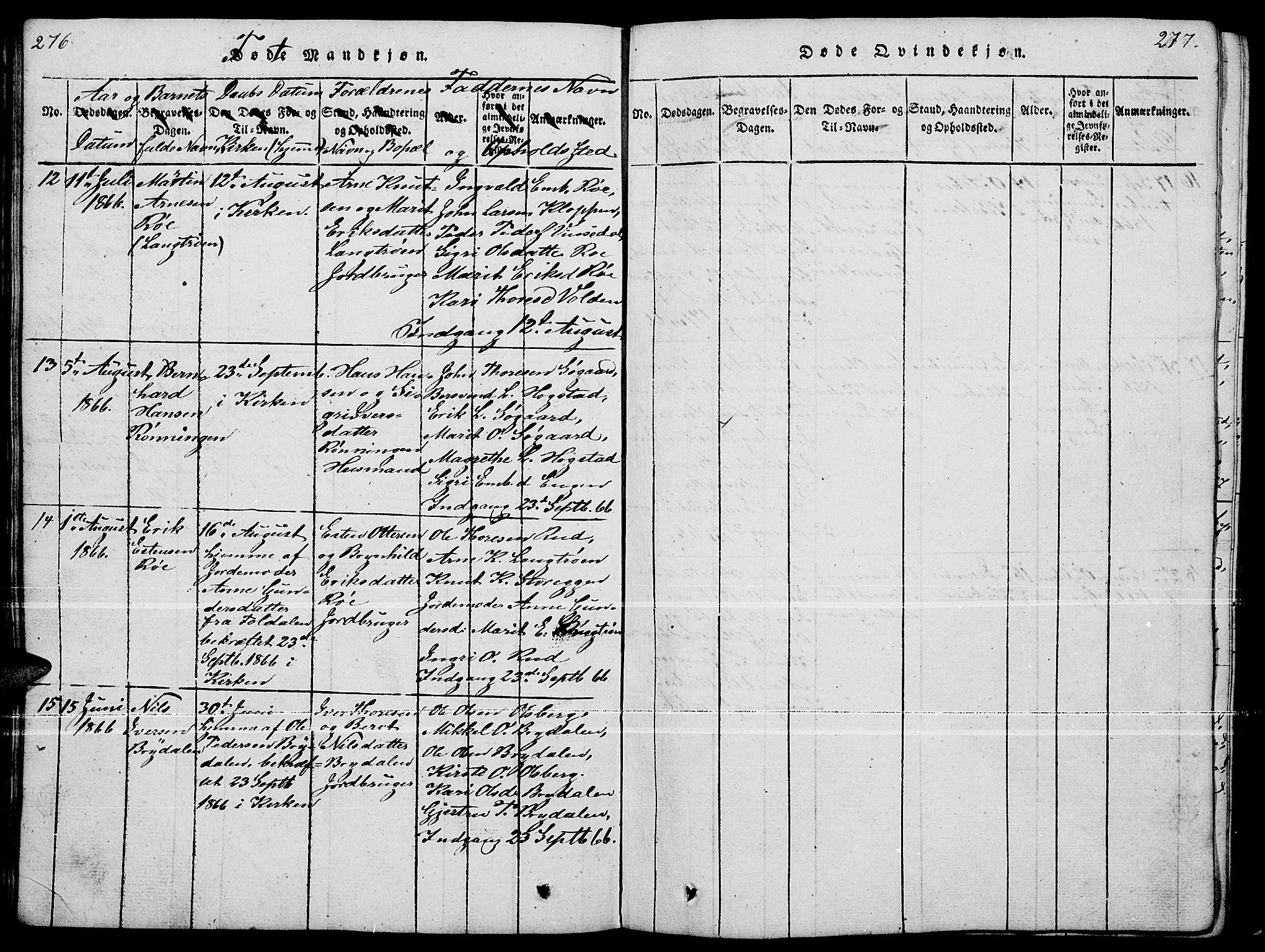 SAH, Tynset prestekontor, Klokkerbok nr. 4, 1814-1879, s. 276-277